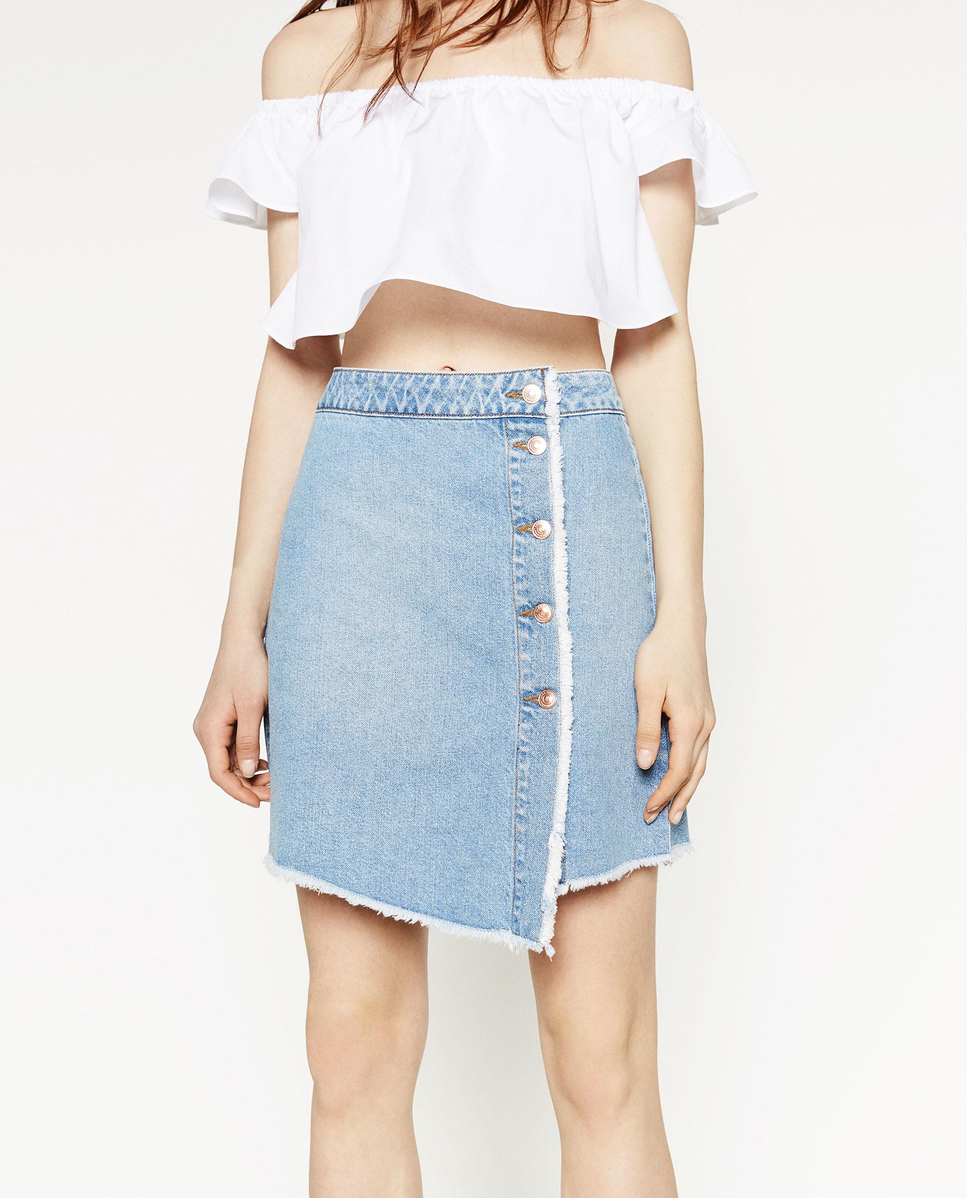 Zara A-line Skirt in Blue | Lyst