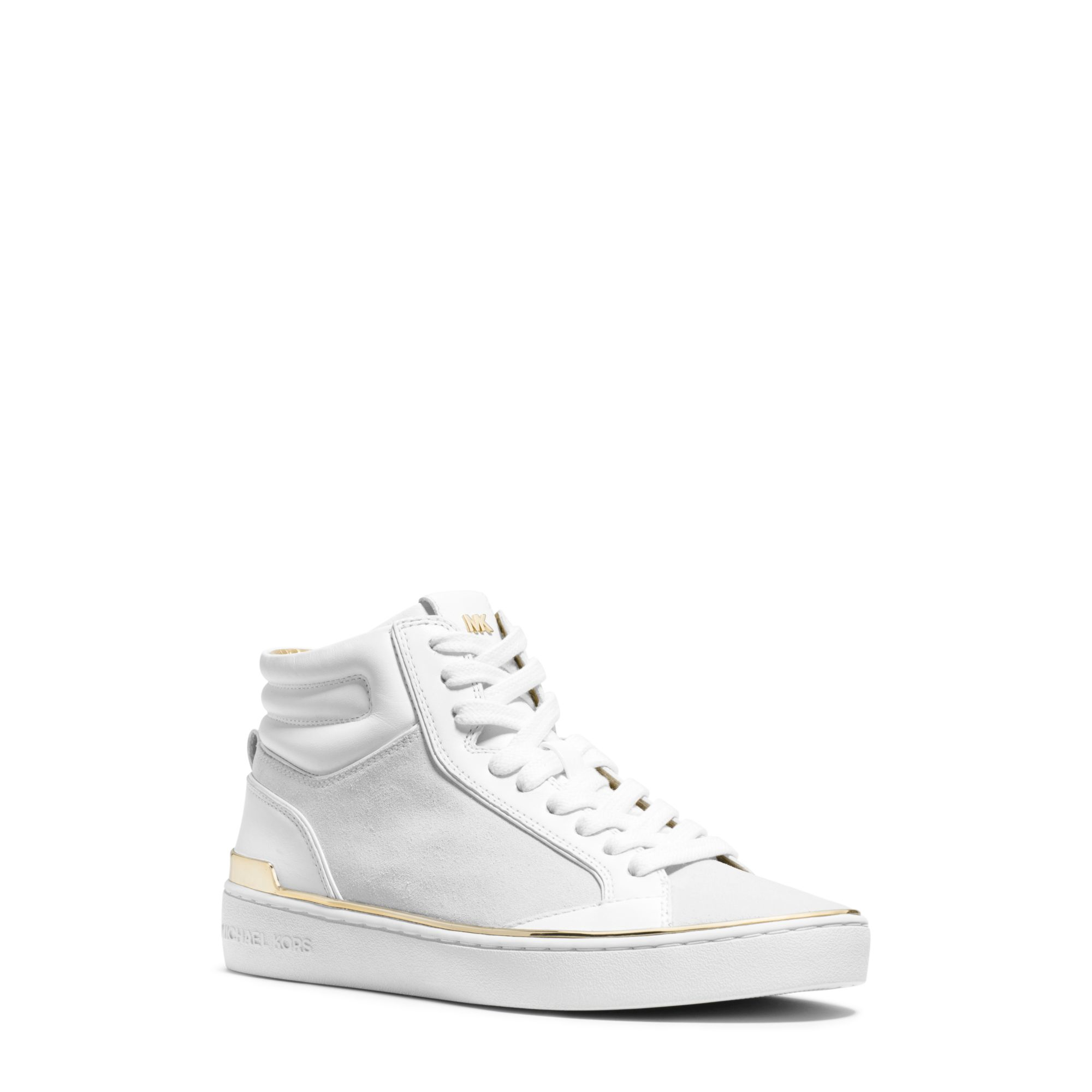 michael kors kyle leather and suede high top sneaker in white optic white lyst. Black Bedroom Furniture Sets. Home Design Ideas