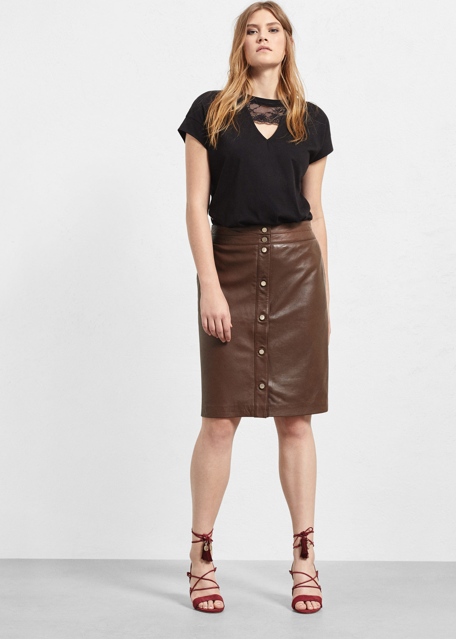 Violeta by mango Leather Skirt in Brown | Lyst