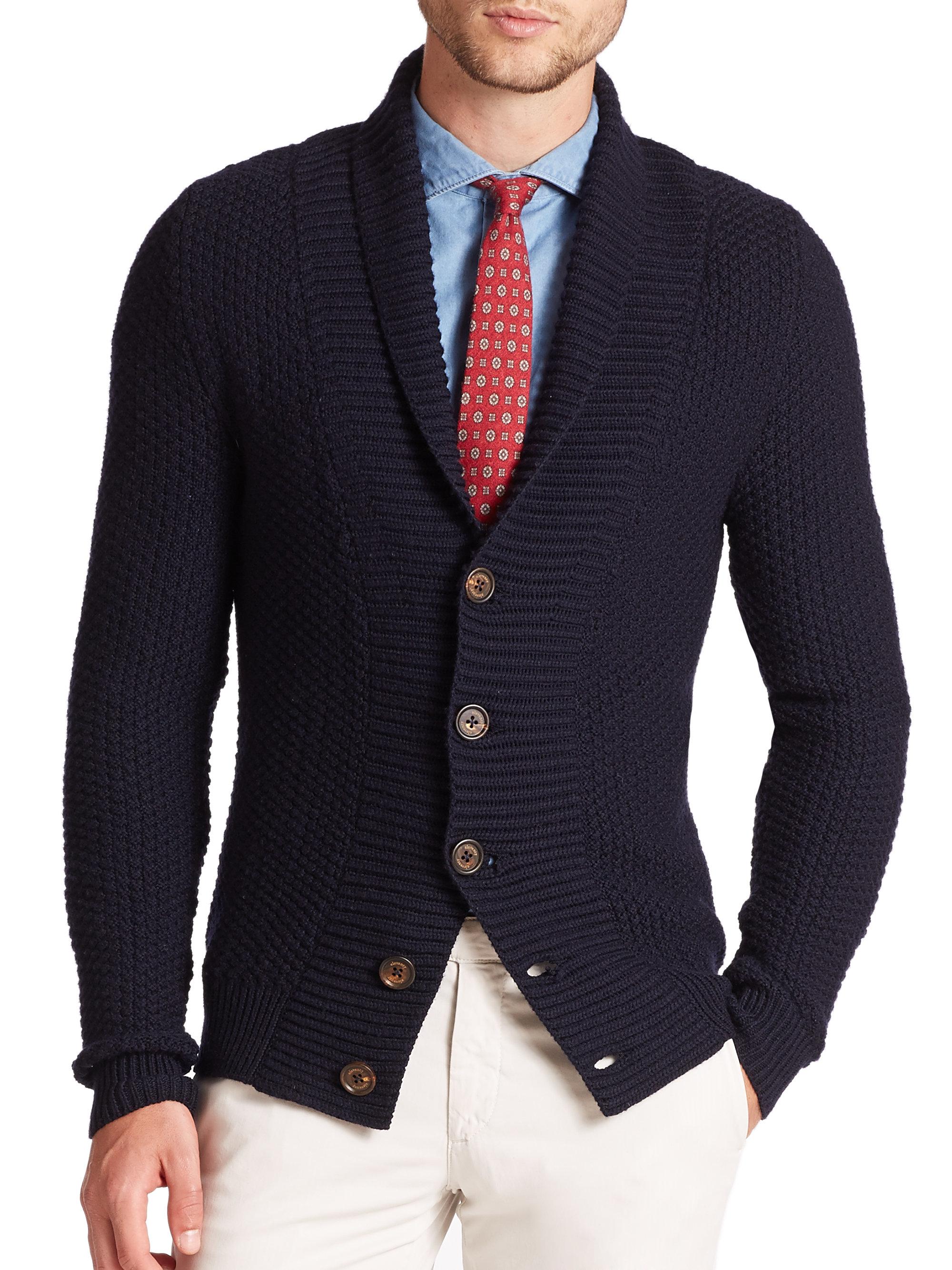 Eleventy Multi-stitch Wool Cardigan in Blue for Men | Lyst