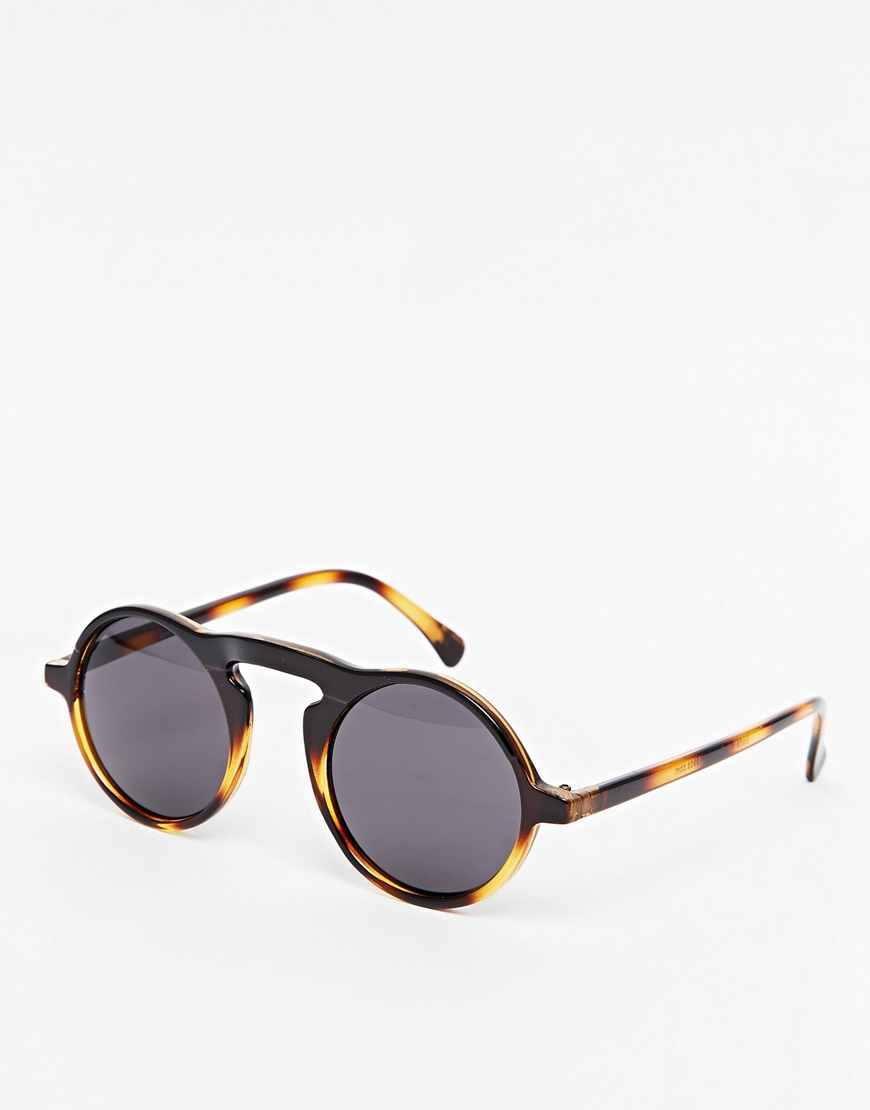 Lyst - Asos Round Sunglasses With Keyhole Nose Bridge In -2638