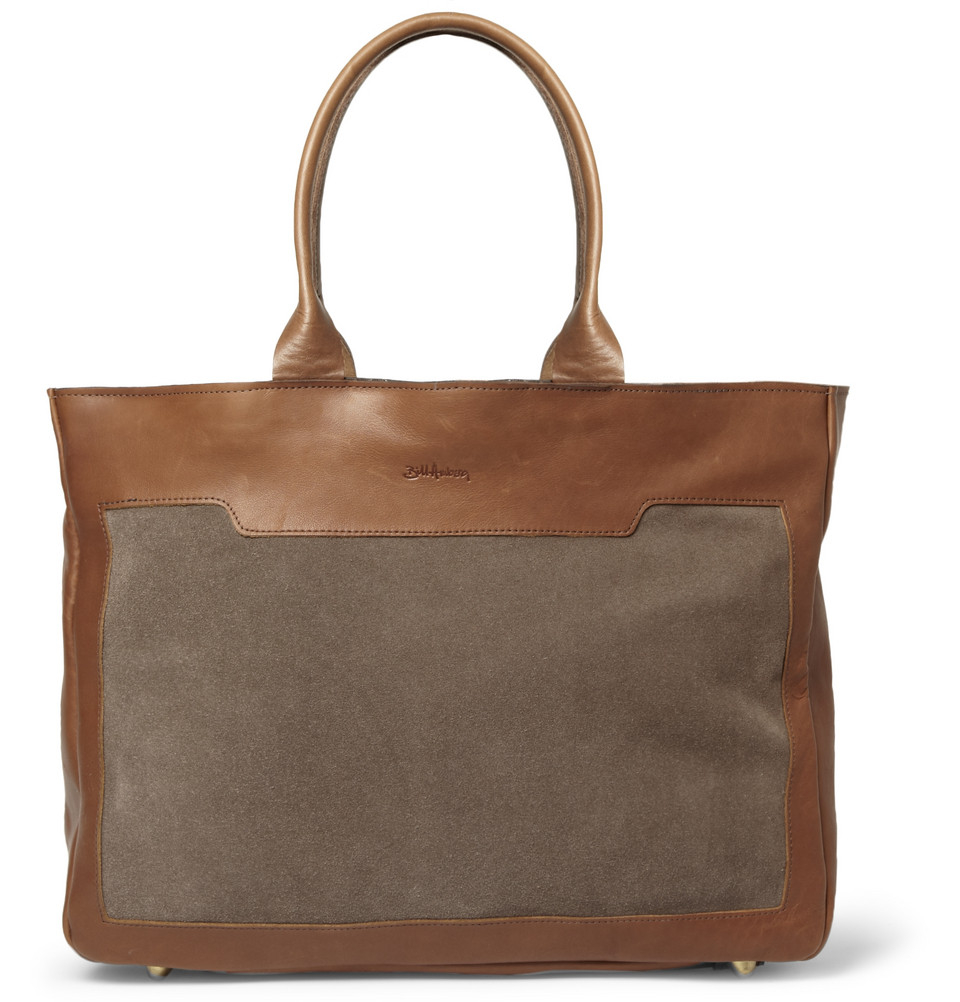 bill amberg raleigh leather and suede tote bag in brown for men lyst. Black Bedroom Furniture Sets. Home Design Ideas