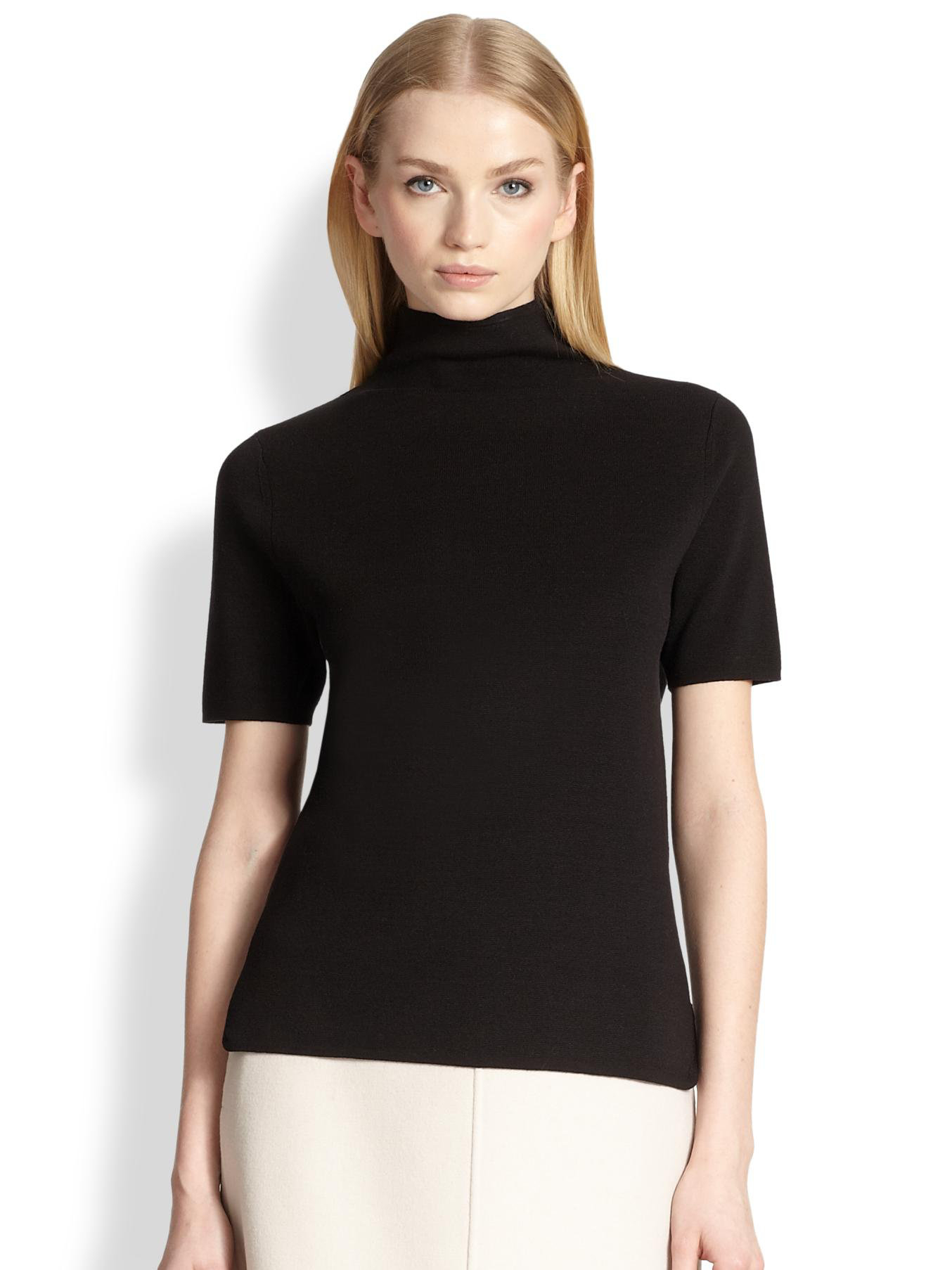 Max mara Silk Cotton Turtleneck Sweater in Black | Lyst