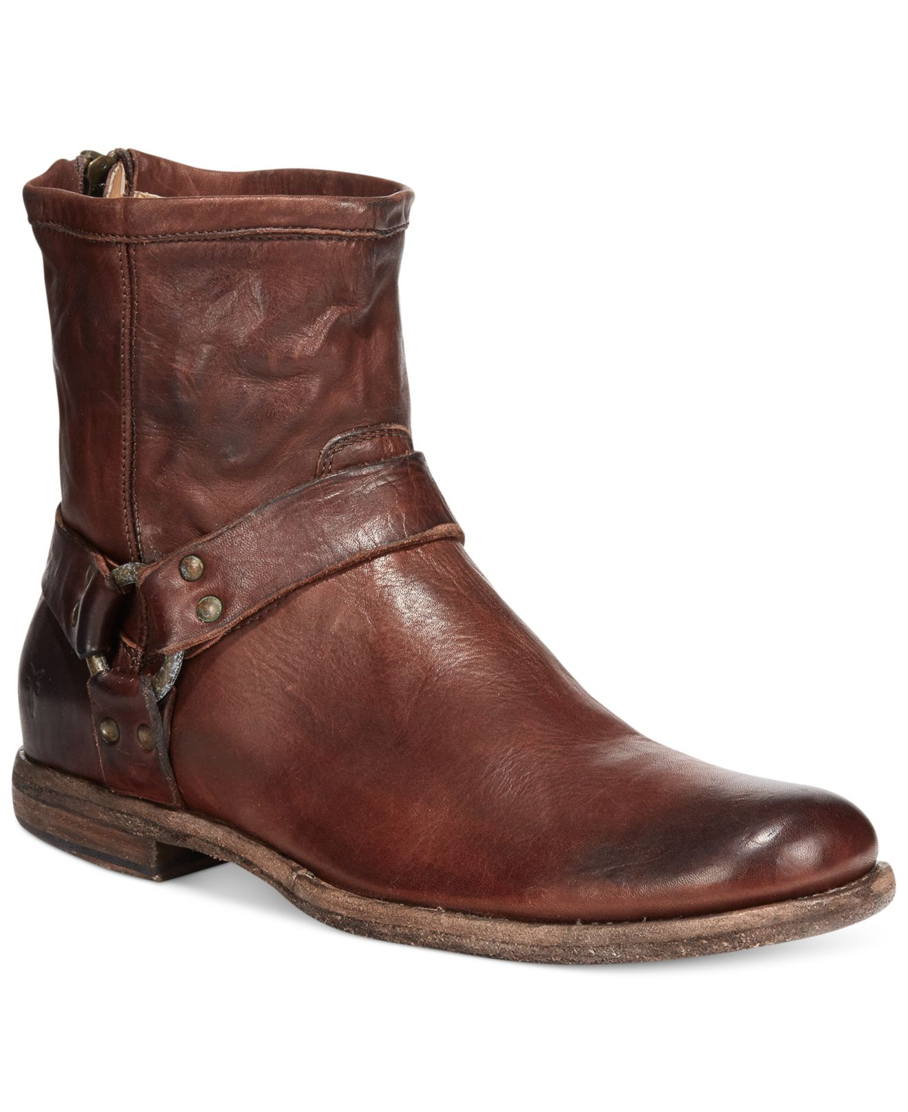 frye phillip harness boots in brown for lyst