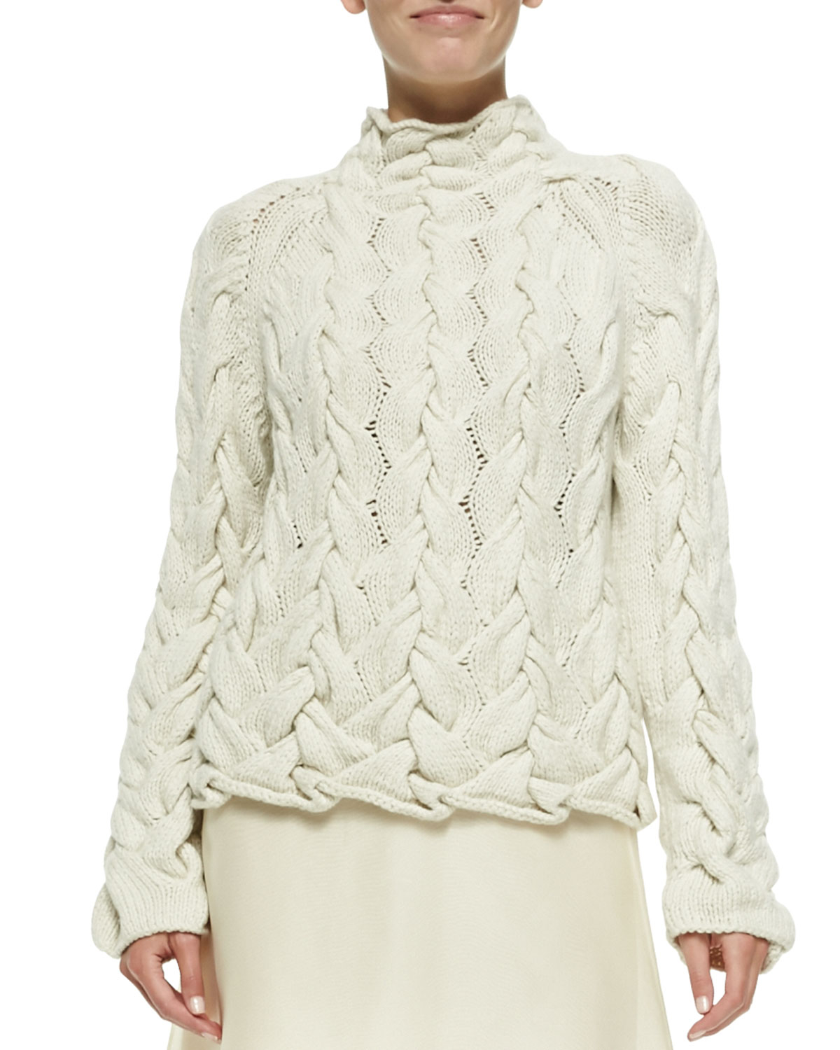 The row Chunky Cable-Knit Sweater in Natural | Lyst