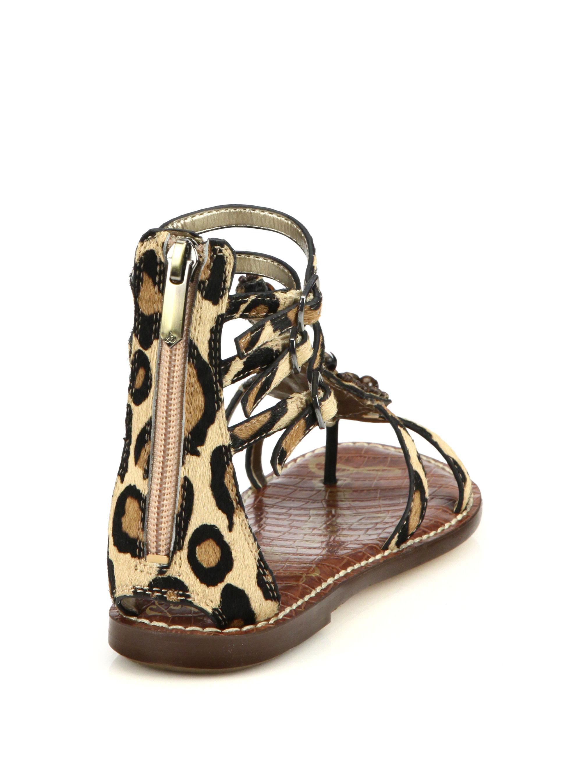 876d196b5564d4 Lyst - Sam Edelman Giada Beaded Leopard-print Calf Hair Sandals in ...
