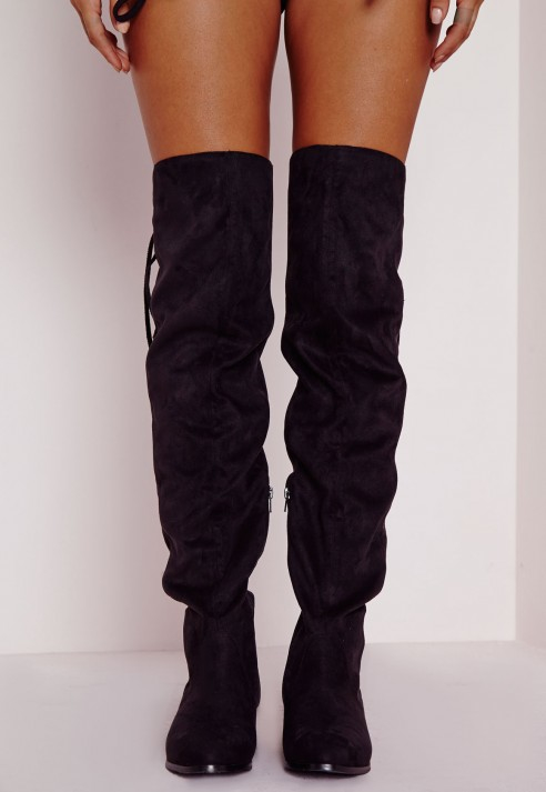 Missguided Flat Knee High Tassel Back Boots Black in Black | Lyst
