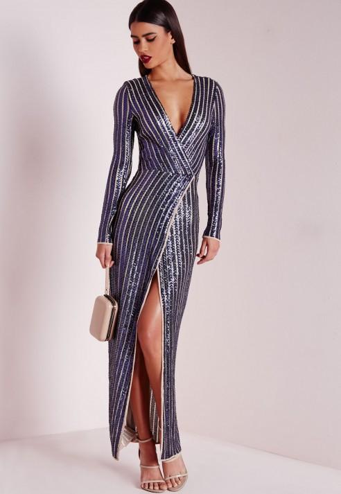 de8dc1e06f9a Lyst - Missguided Premium Sequin Stripe Wrap Maxi Dress Navy in Blue