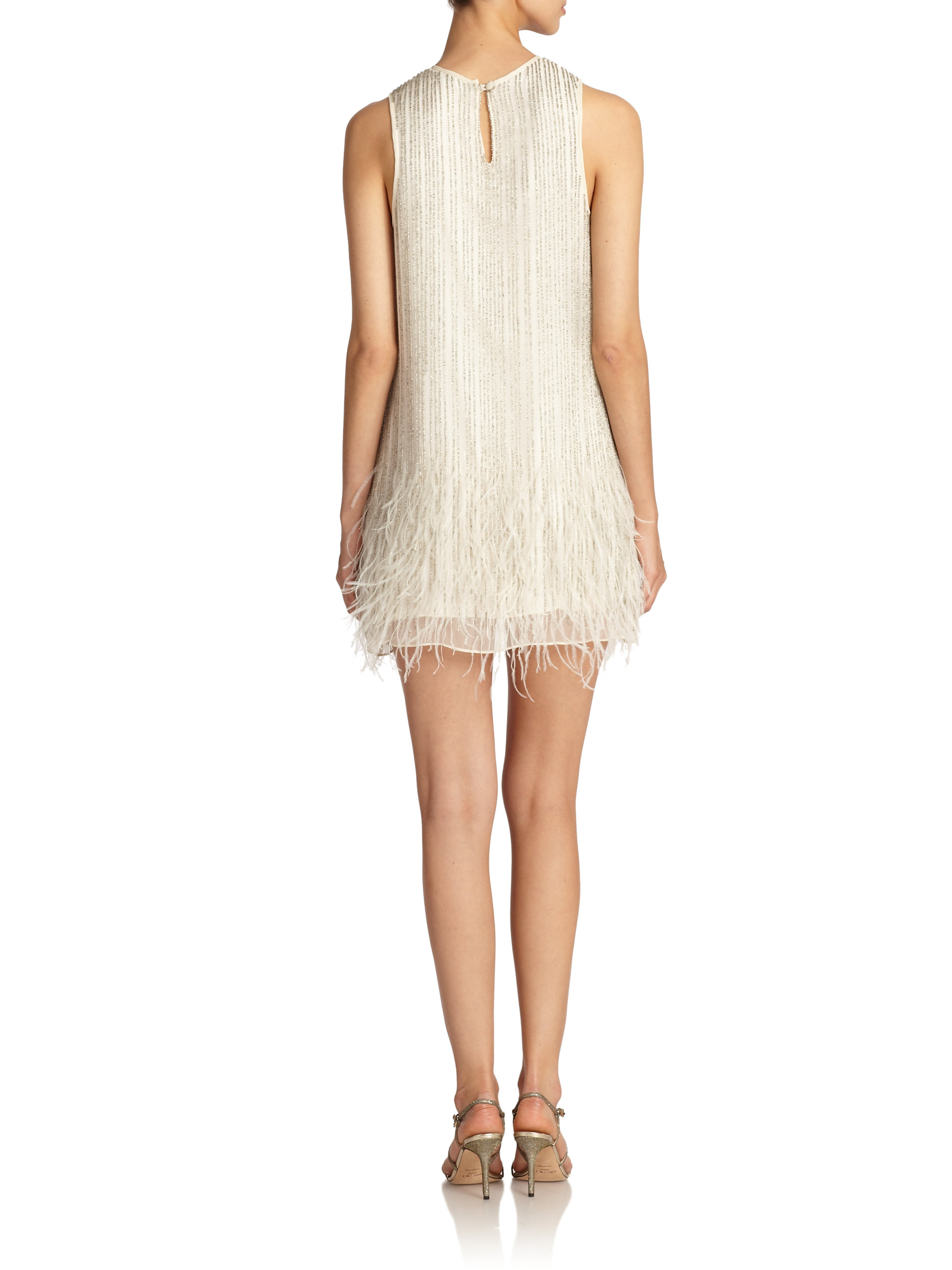 black allegra beaded feather cocktail dress in