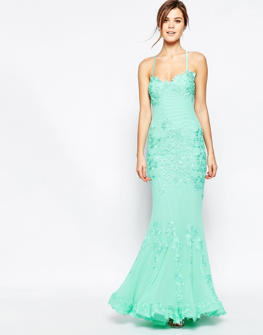 Forever unique Porsia Maxi Dress In Lace in Green | Lyst