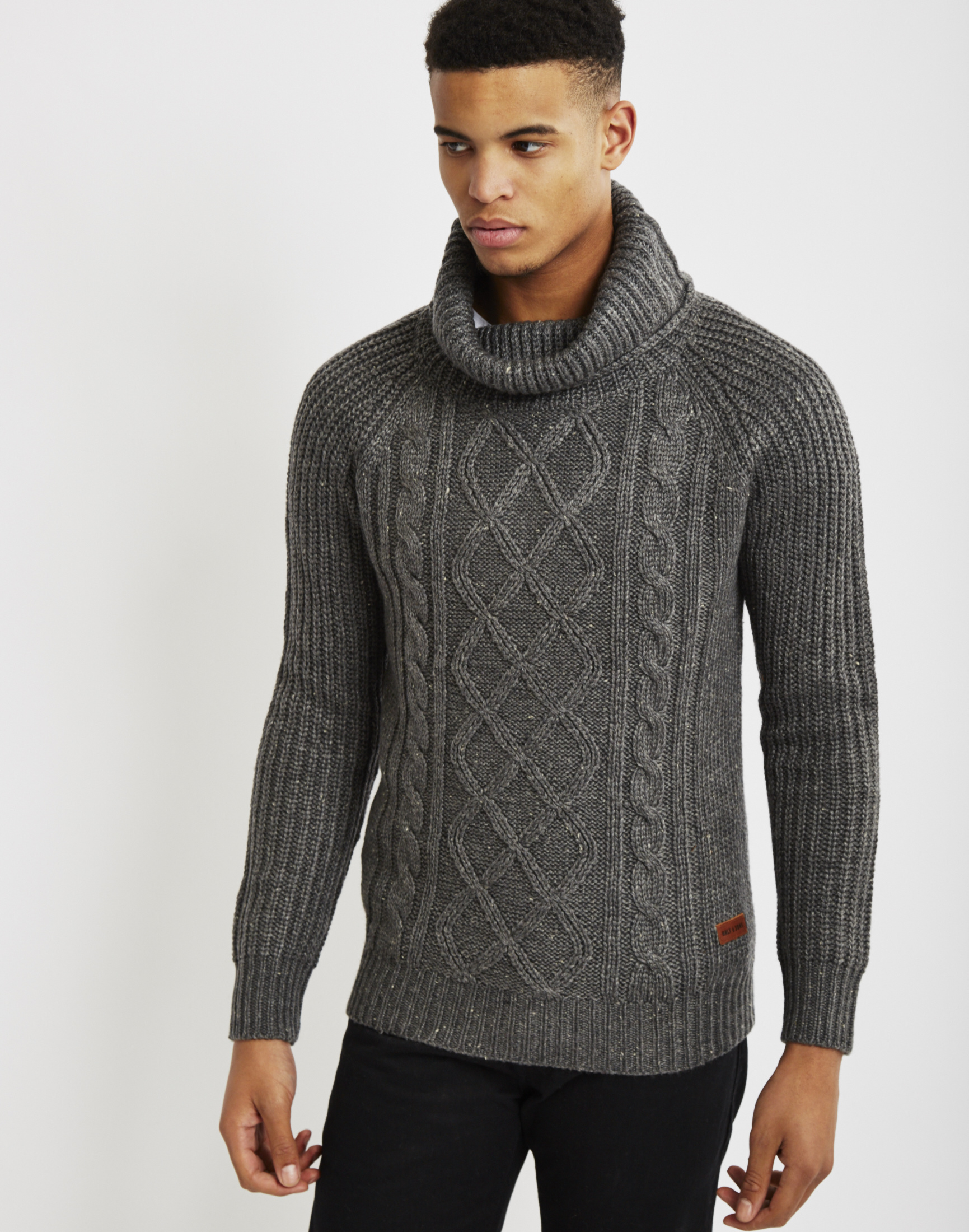 Only & sons Mens Knitted Pullover Cable Knit Jumper Grey in Gray ...