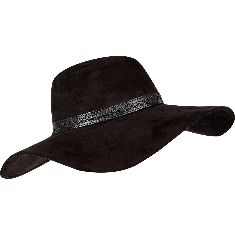 River Island Black Faux Suede Floppy Hat in Black - Lyst 3b613f461f2