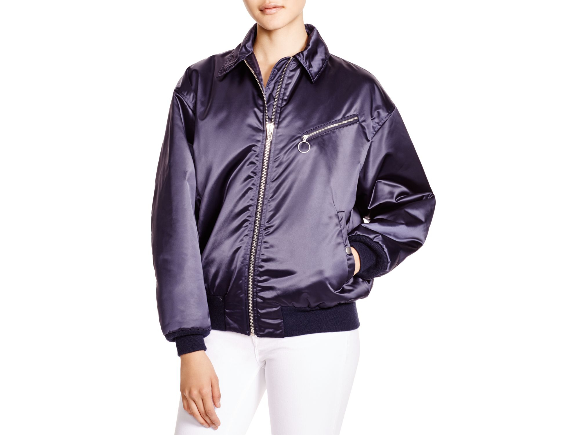 f522b44aa T By Alexander Wang Satin Bomber Jacket in Blue - Lyst