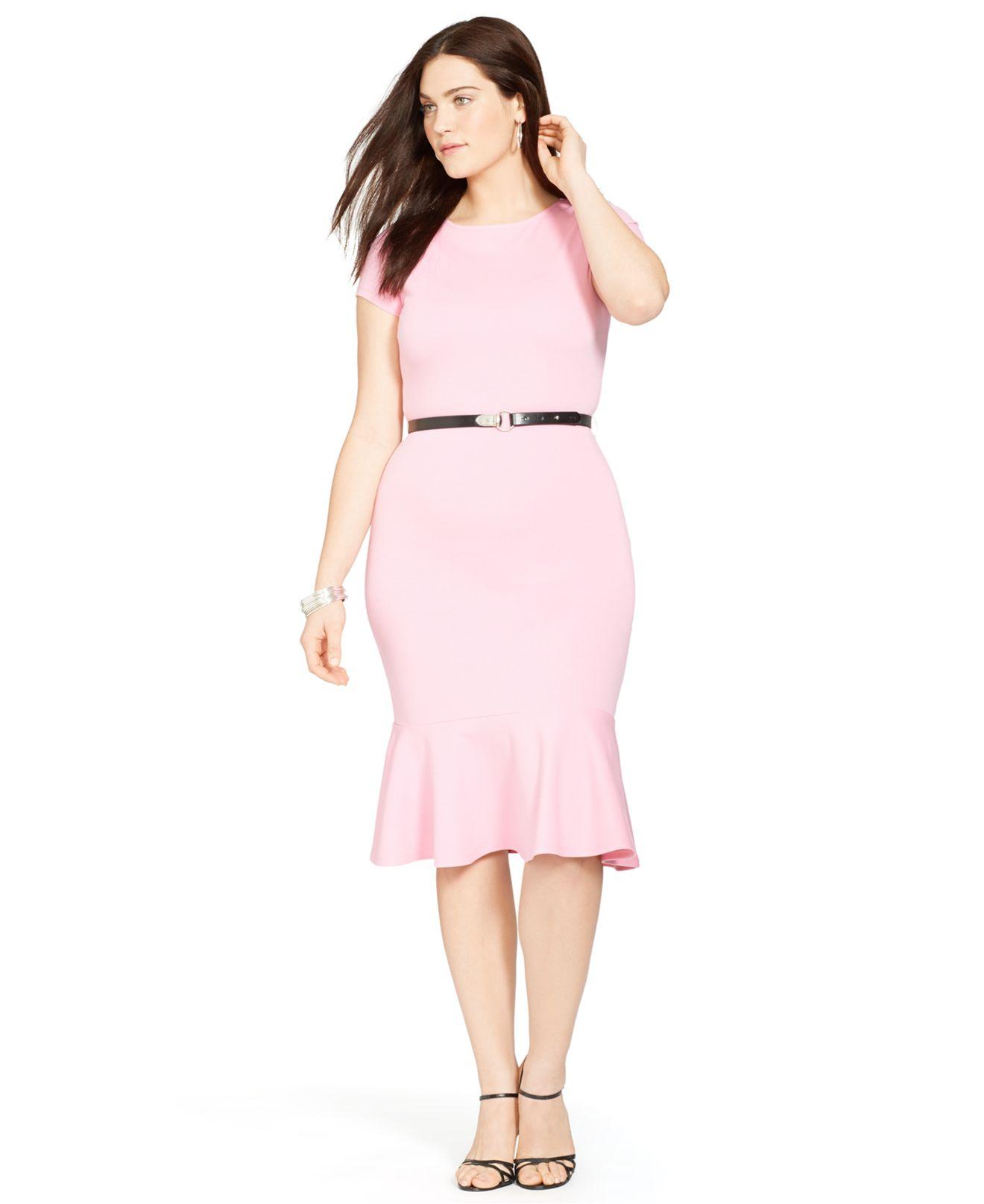 Lyst Lauren By Ralph Lauren Plus Size Belted Peplum Dress In Pink