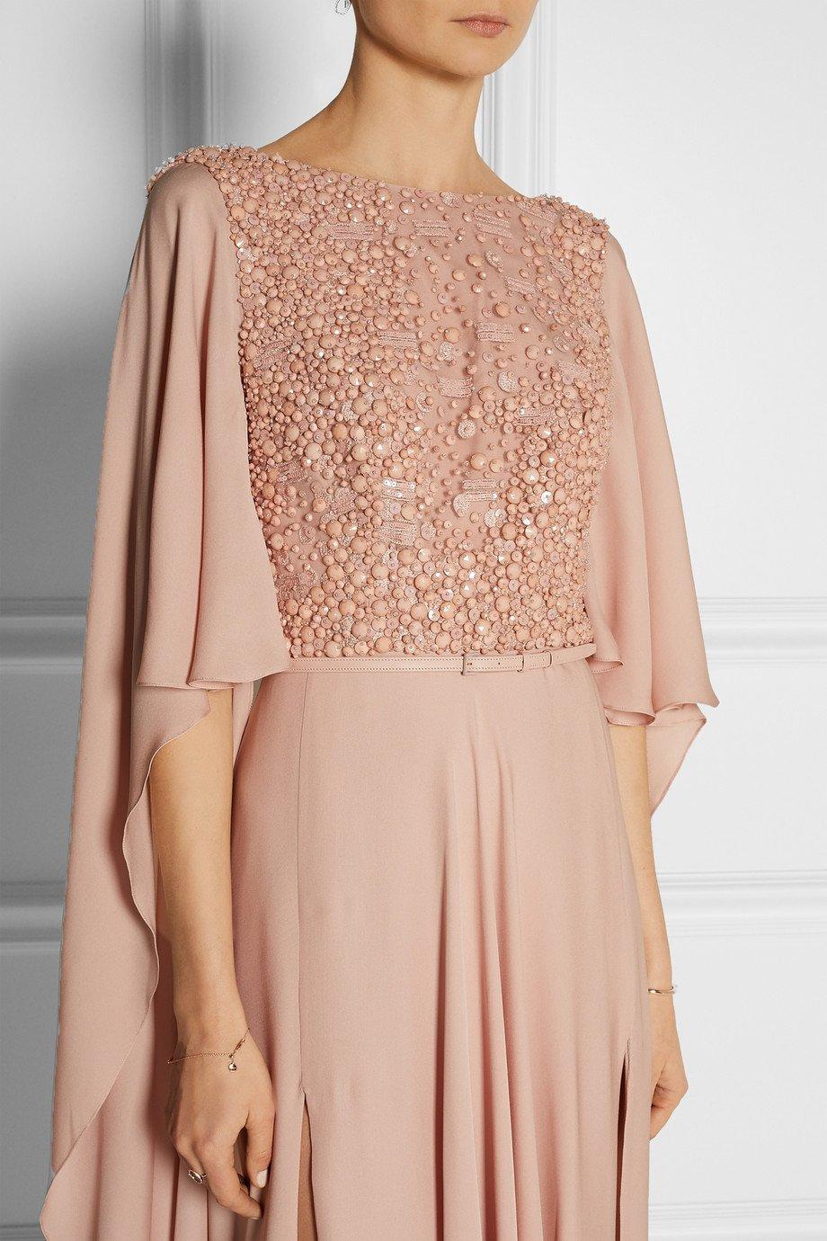 Lyst Elie Saab Embellished Belted Silk Gown In Pink
