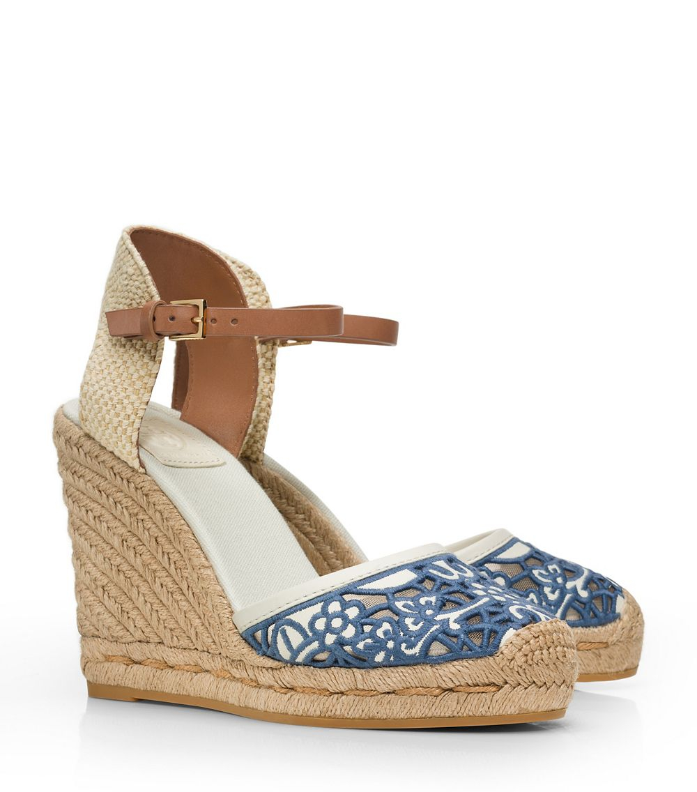 fbc2652c2067 Lyst - Tory Burch Lucia Lace Wedge Espadrille in Blue
