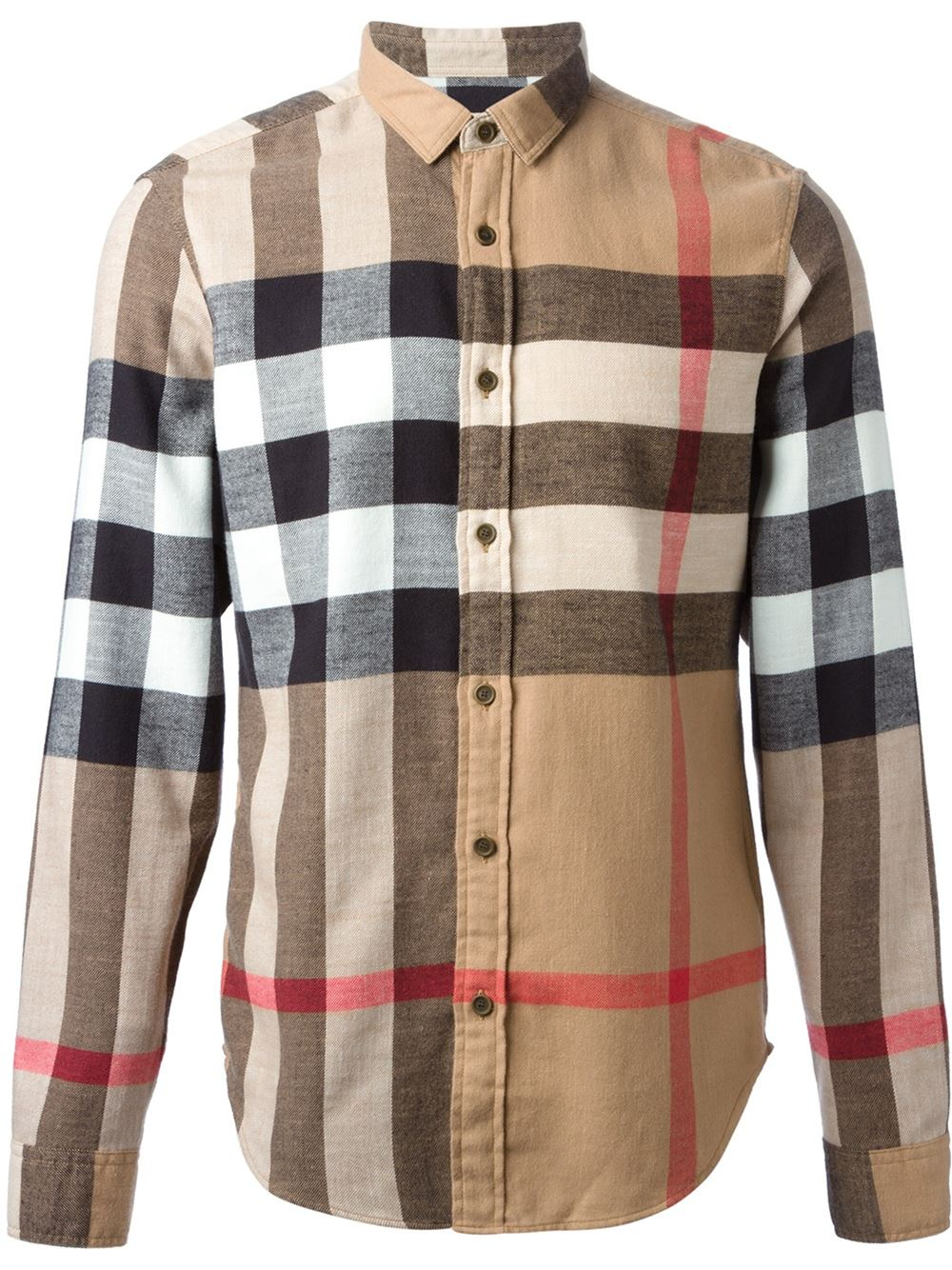 Burberry brit 39 house check 39 shirt in natural for men lyst for Burberry brit checked shirt