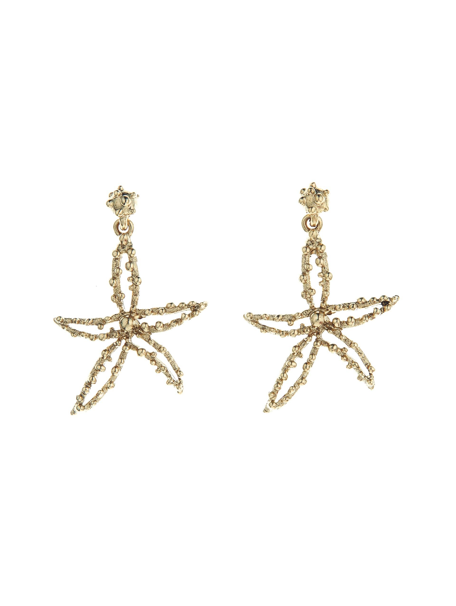 Oscar De La Renta Gold Double Starfish Earrings Mulberry btS8LNkG
