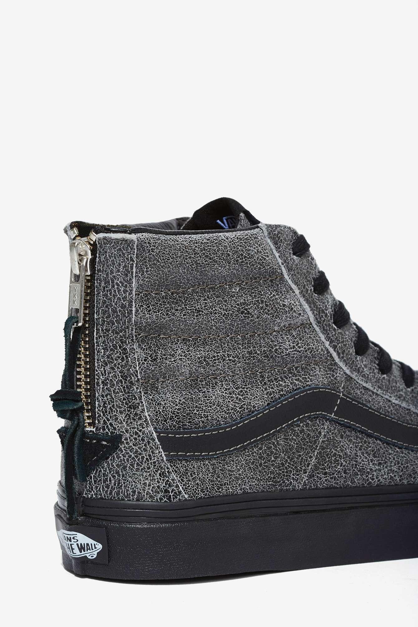 Lyst - Nasty gal Sk8-hi Slim Sneaker - Black Crackle Suede