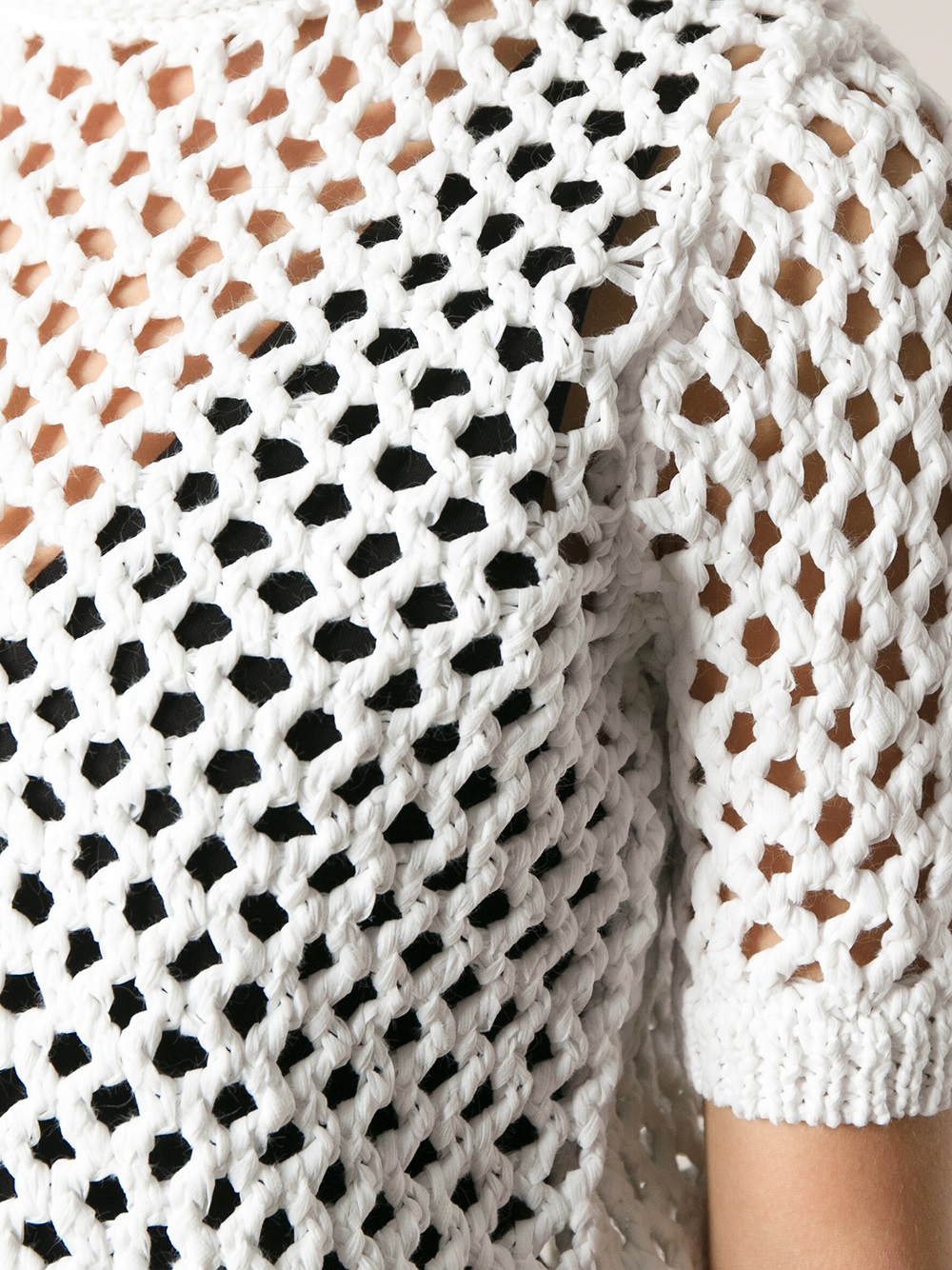 Alexander wang Short Sleeve Open Knit Sweater in White | Lyst