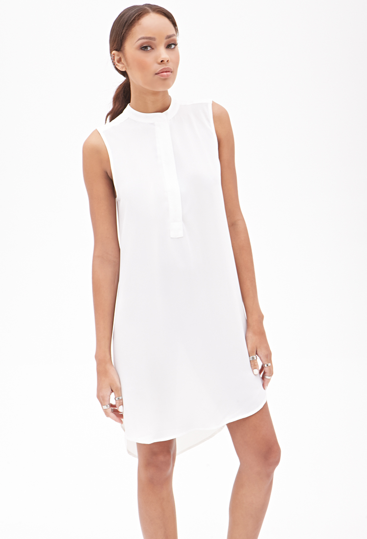 94bb7b22e1 Forever 21 - White Chiffon Shift Dress You ve Been Added To The Waitlist -