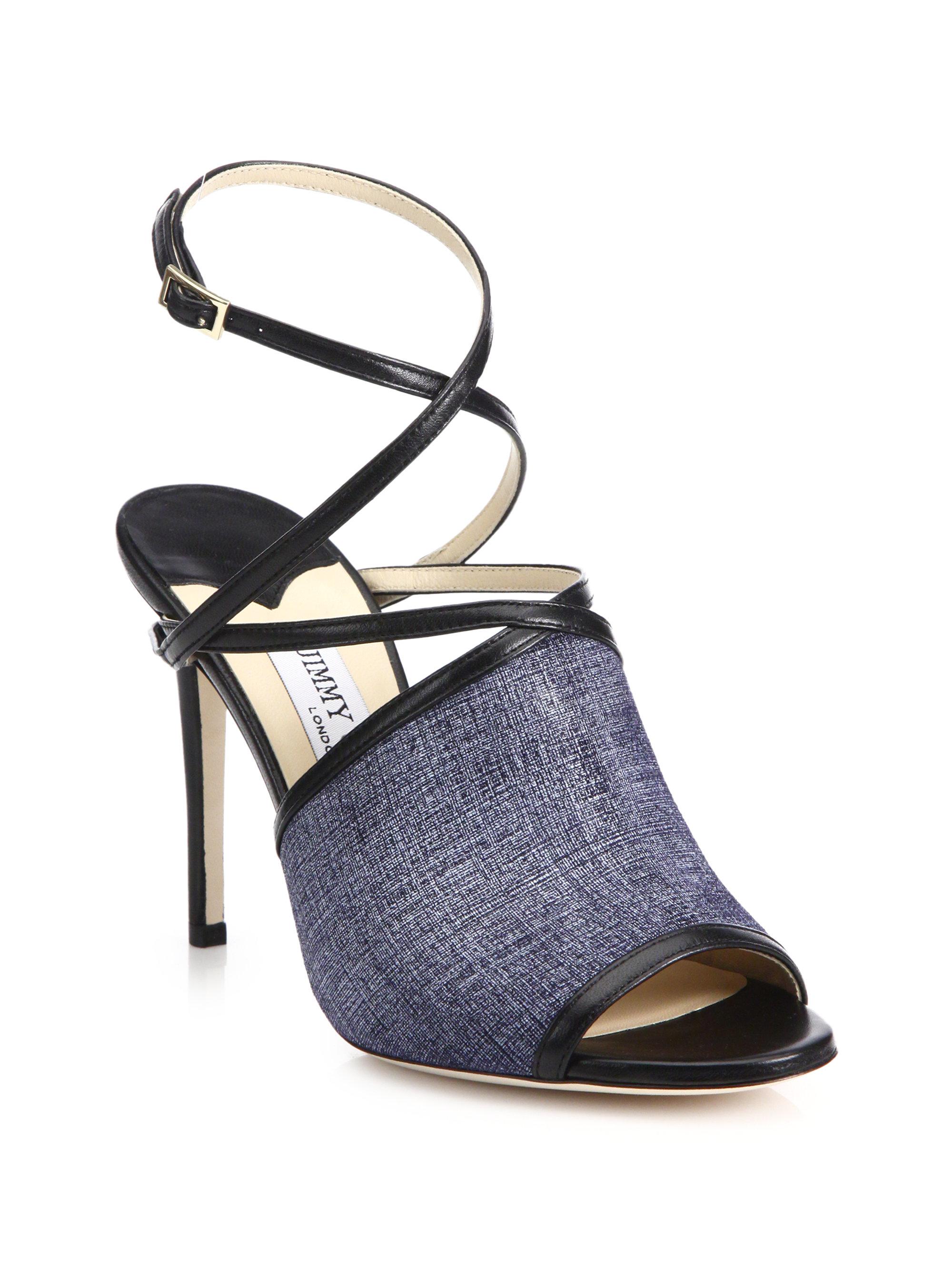 d61ac3363f42 Lyst - Jimmy Choo Flora Denim Leather Sandal in Blue