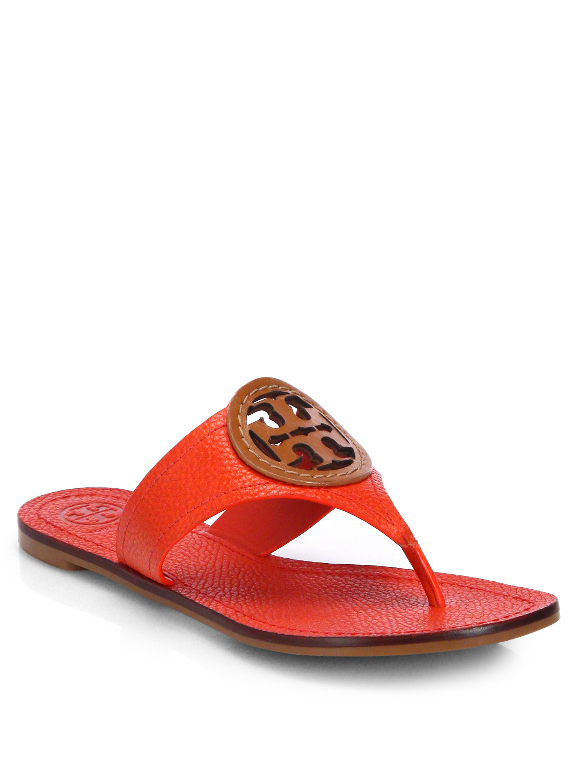 58c94acb118708 Lyst - Tory Burch Louisa Leather Thong Sandals in Red