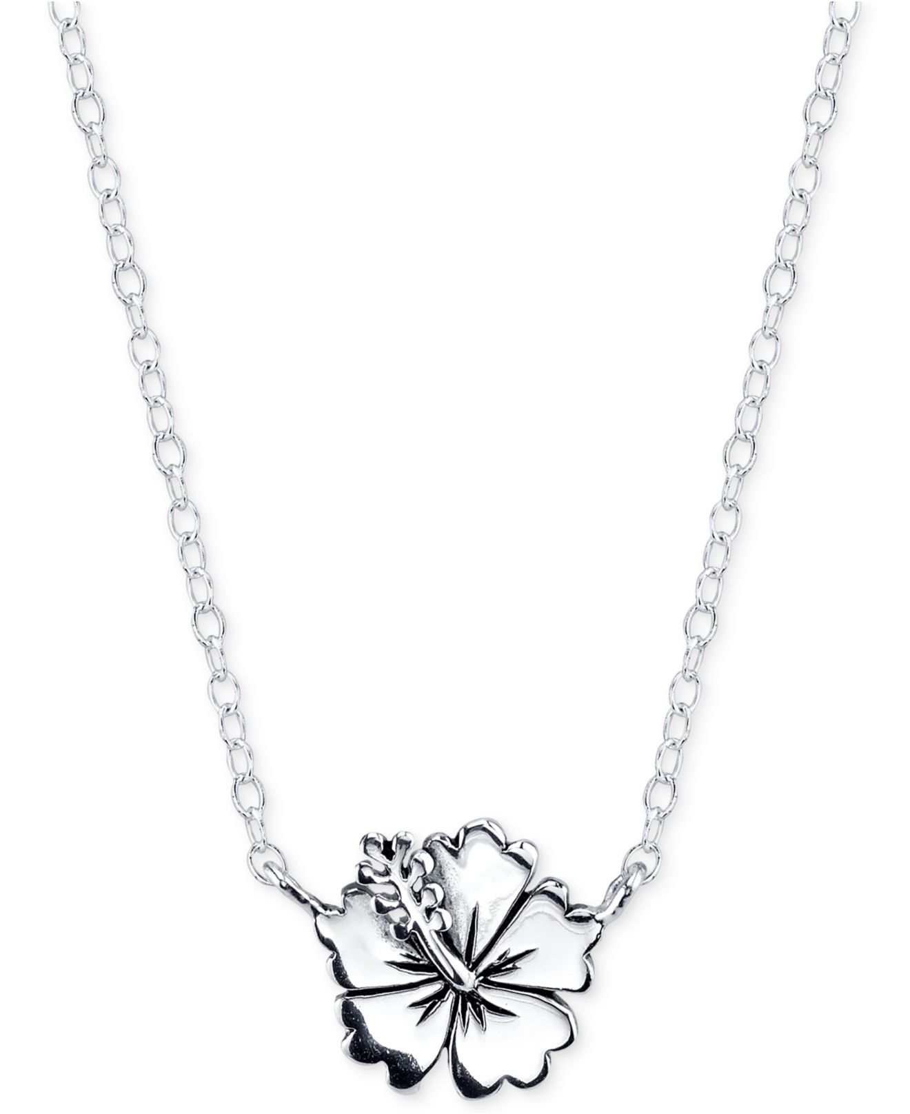 Disney Lilo & Stitch Flower Necklace In Sterling Silver in Metallic