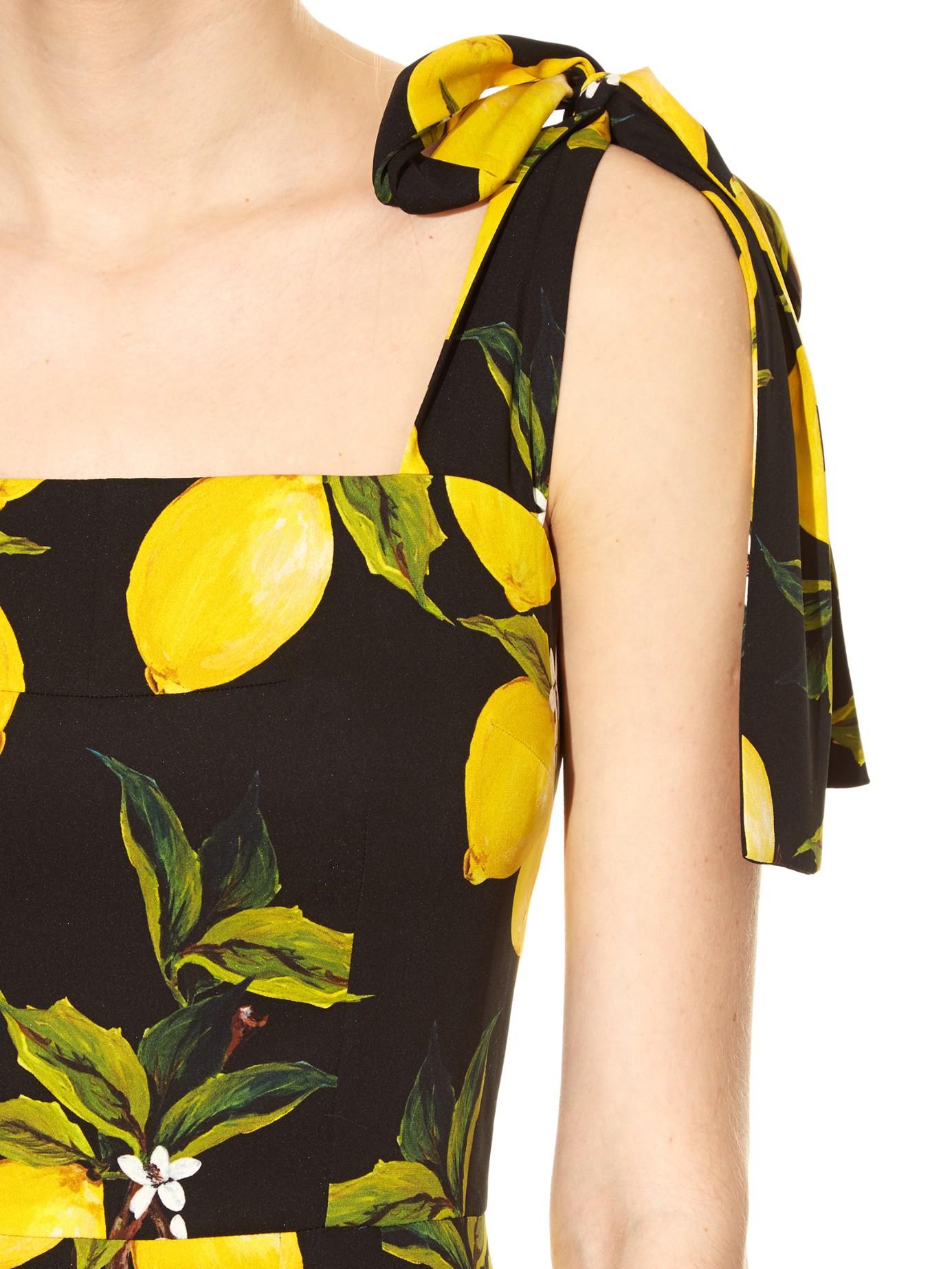 Dolce & Gabbana Lemon-print Fluted-hem Straps Dress in