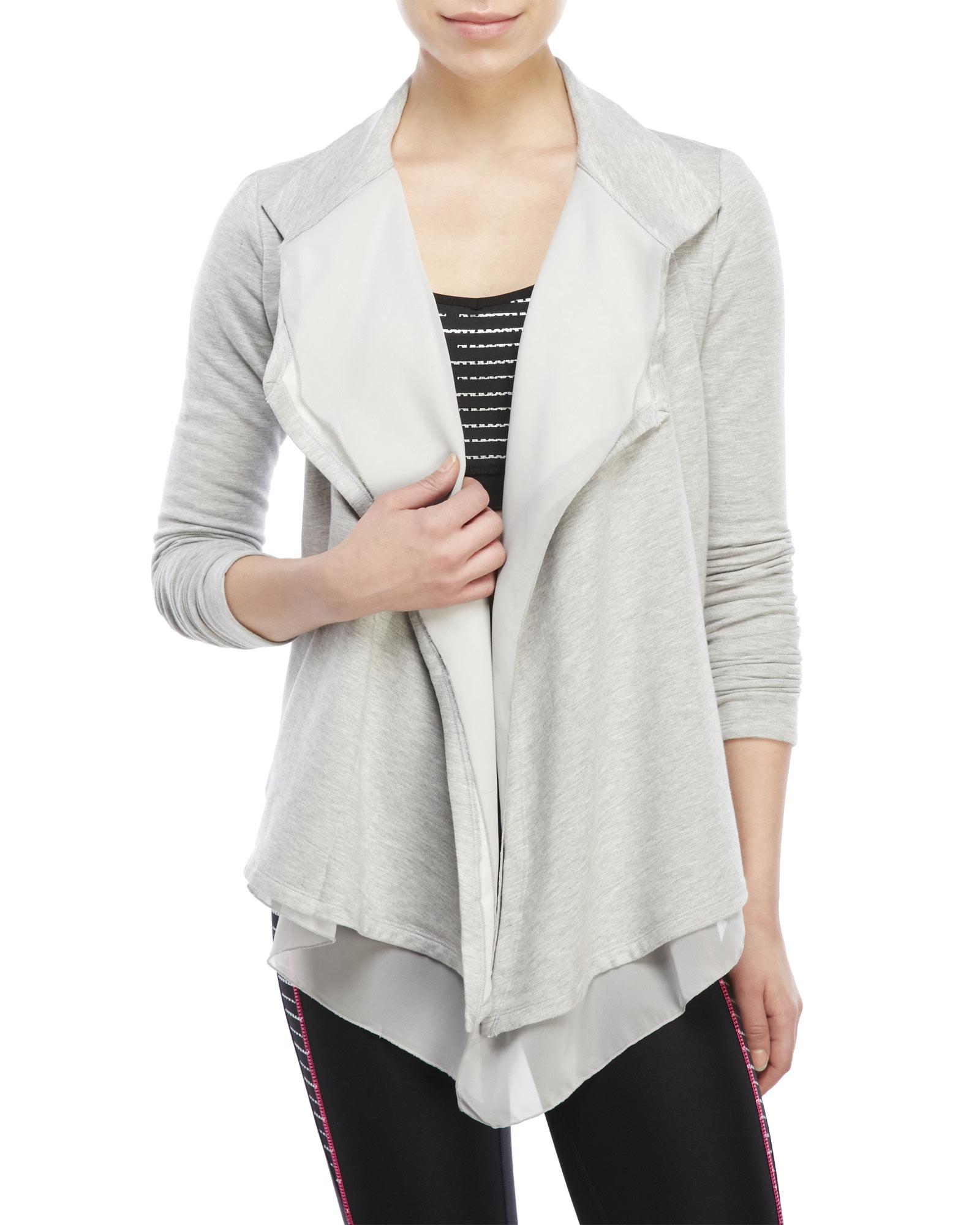 90 degree by reflex Chiffon-Front Open Cardigan in Gray | Lyst