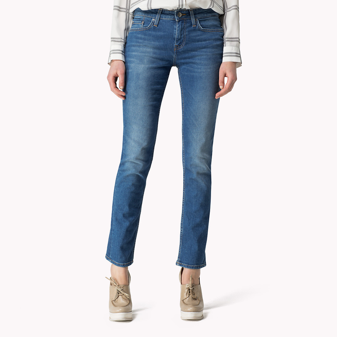tommy hilfiger straight fit jeans in blue sarah lyst. Black Bedroom Furniture Sets. Home Design Ideas