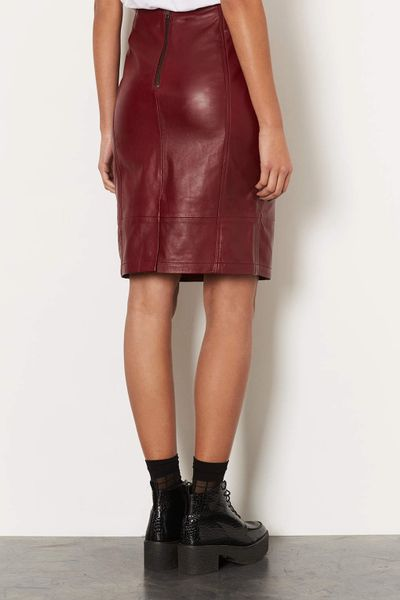 topshop leather panel pencil skirt in wine lyst