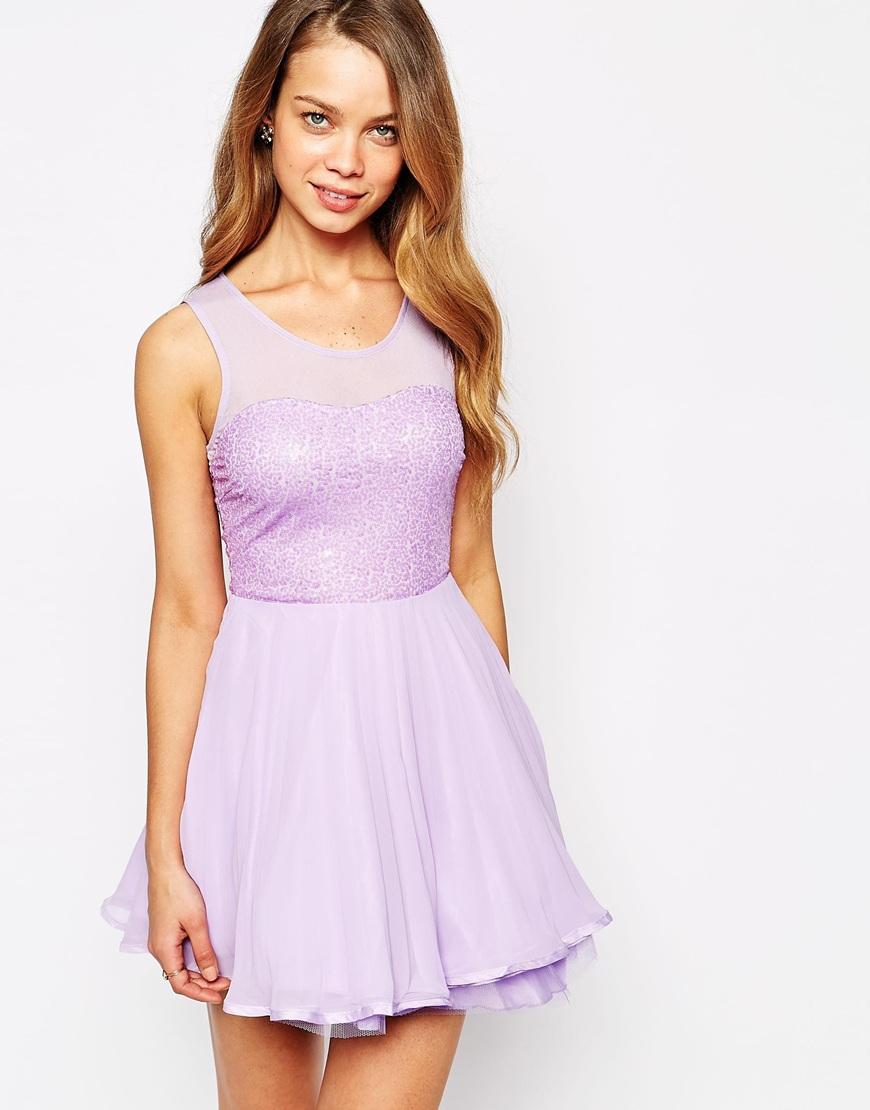 Ax paris Sequin Skater Dress With Pleated Skirt in Purple | Lyst