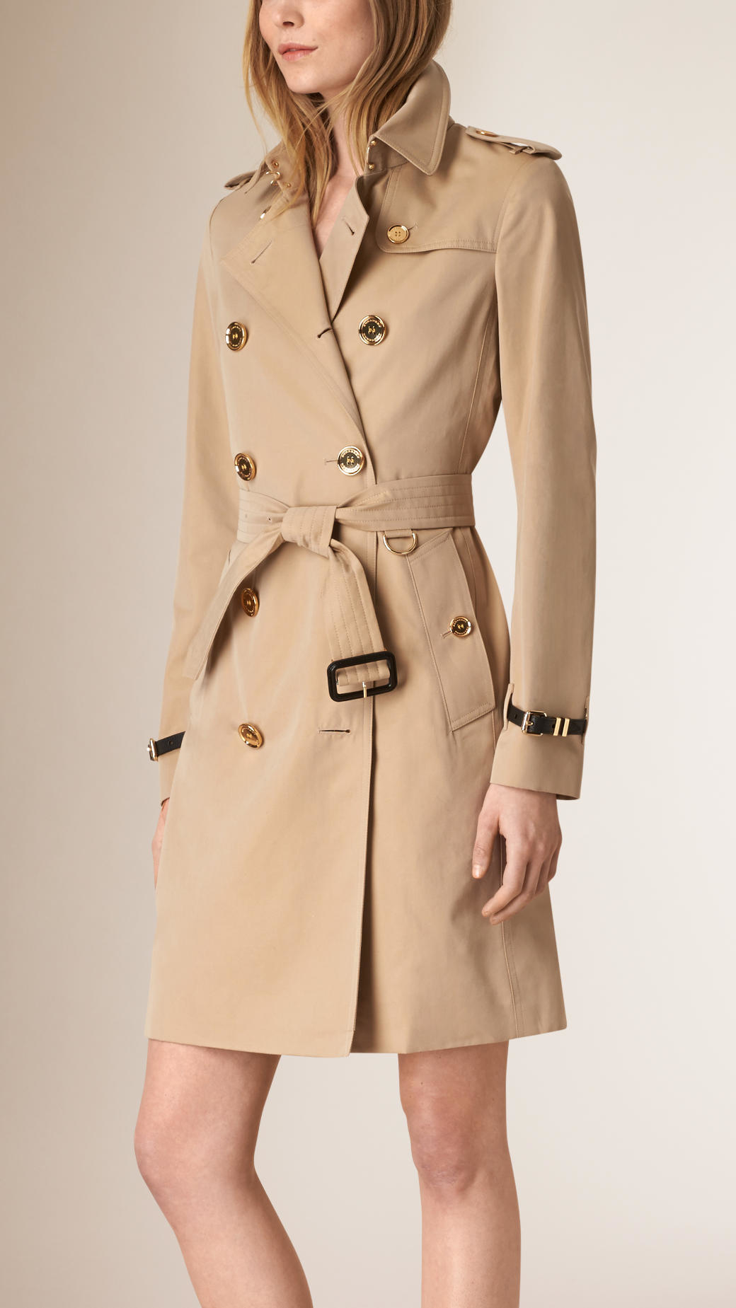 a7bde29f5d16 Lyst - Burberry Metal Button Detail Cotton Gabardine Trench Coat in ...