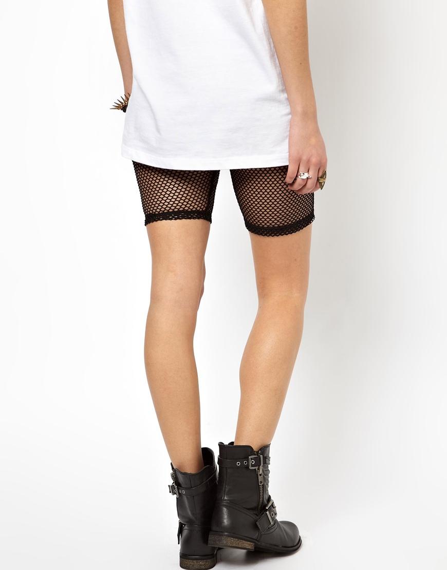 0917b0aa8fc ASOS Fishnet Legging Shorts in Black - Lyst