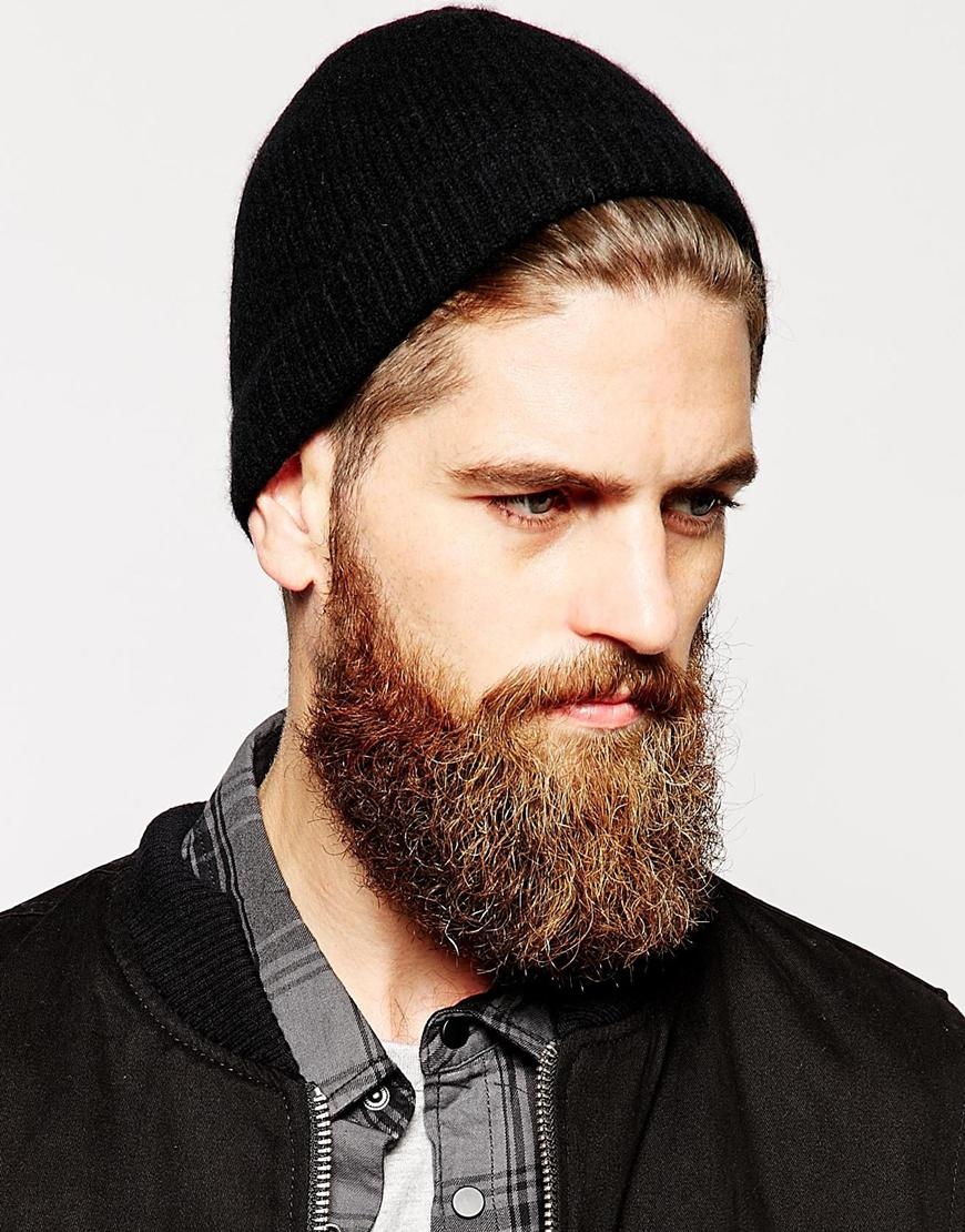 f4156127f07be ASOS Cashmere Beanie Hat in Black for Men - Lyst