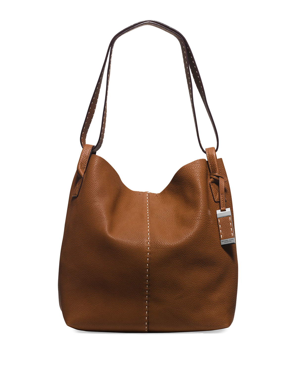 michael kors rogers large leather hobo bag in brown luggage lyst. Black Bedroom Furniture Sets. Home Design Ideas