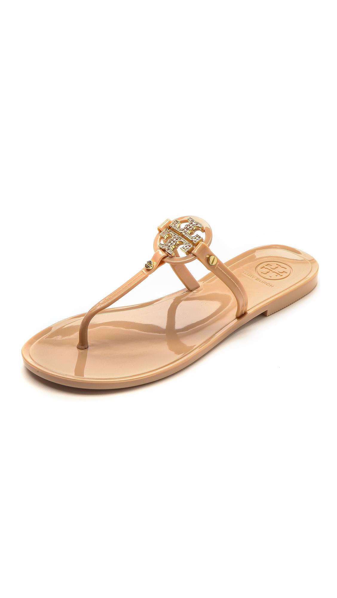 ea09ca956dd516 ... promo code lyst tory burch mini miller flat thong sandals blush in pink  a3702 343ed