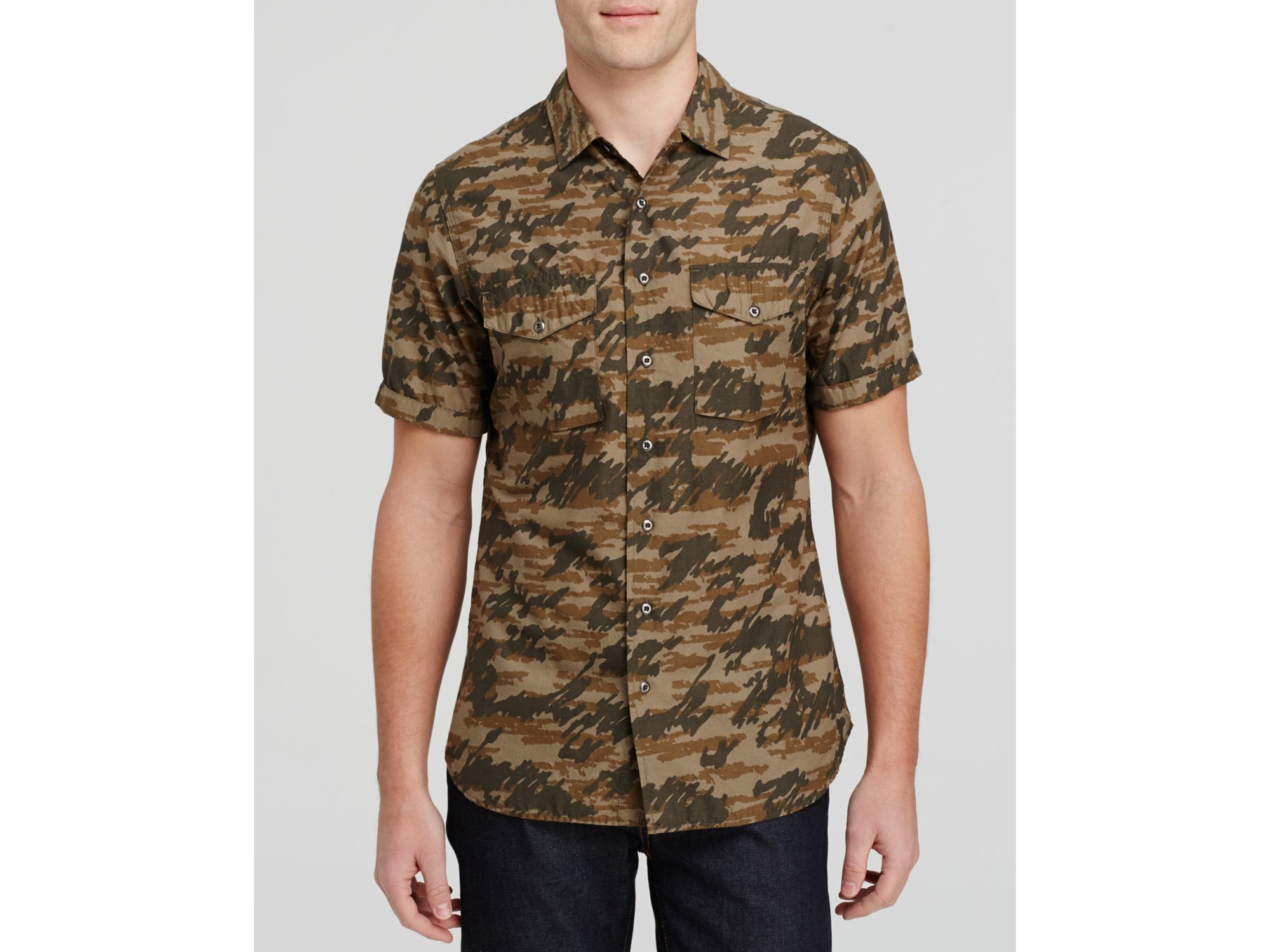 Wings + Horns Tiger Spruce Camo Short Sleeve Button