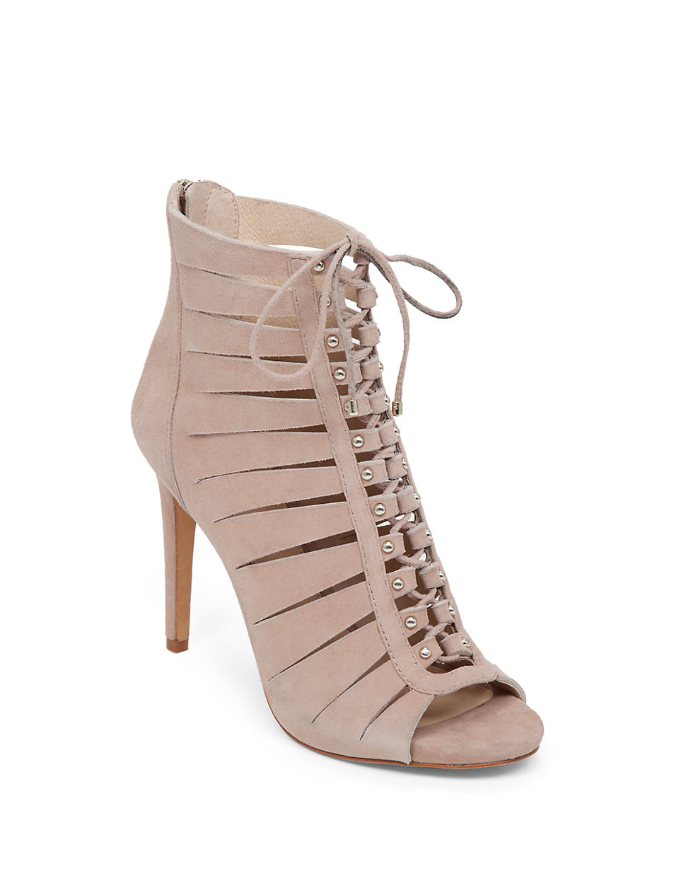 a3f366c570e8 Lyst - Vince Camuto Fionna Lace-up Suede Sandals in Natural