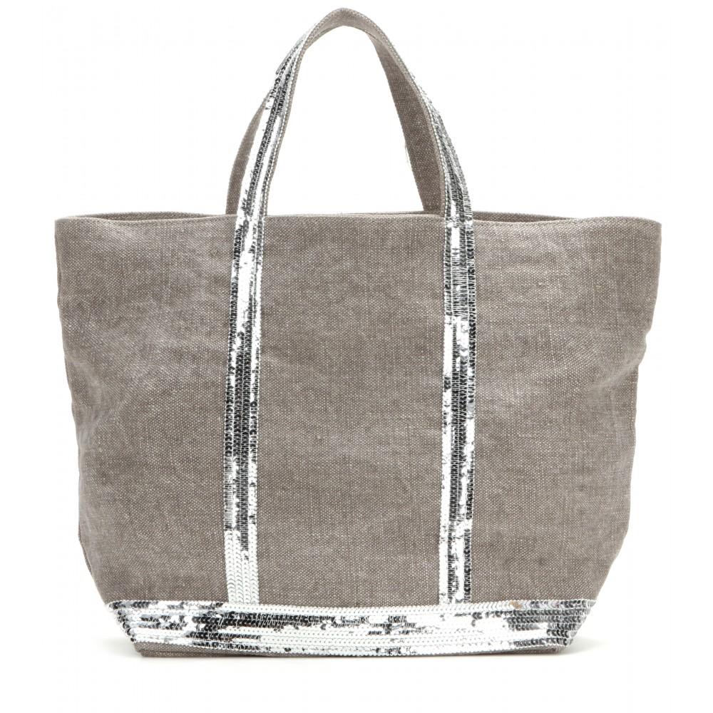 vanessa bruno cabas medium embellished canvas shopper in gray lyst. Black Bedroom Furniture Sets. Home Design Ideas