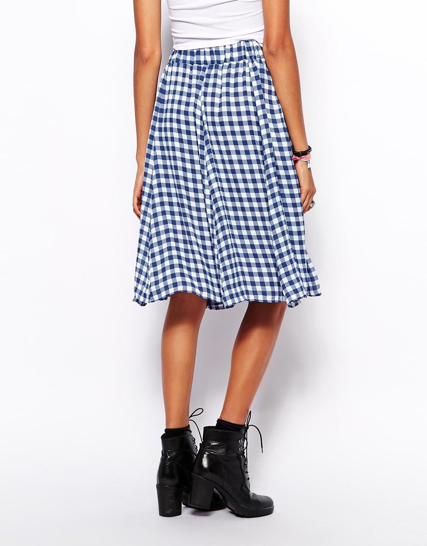 fdf1e0299f Glamorous Midi Skirt in Gingham Print in Blue - Lyst