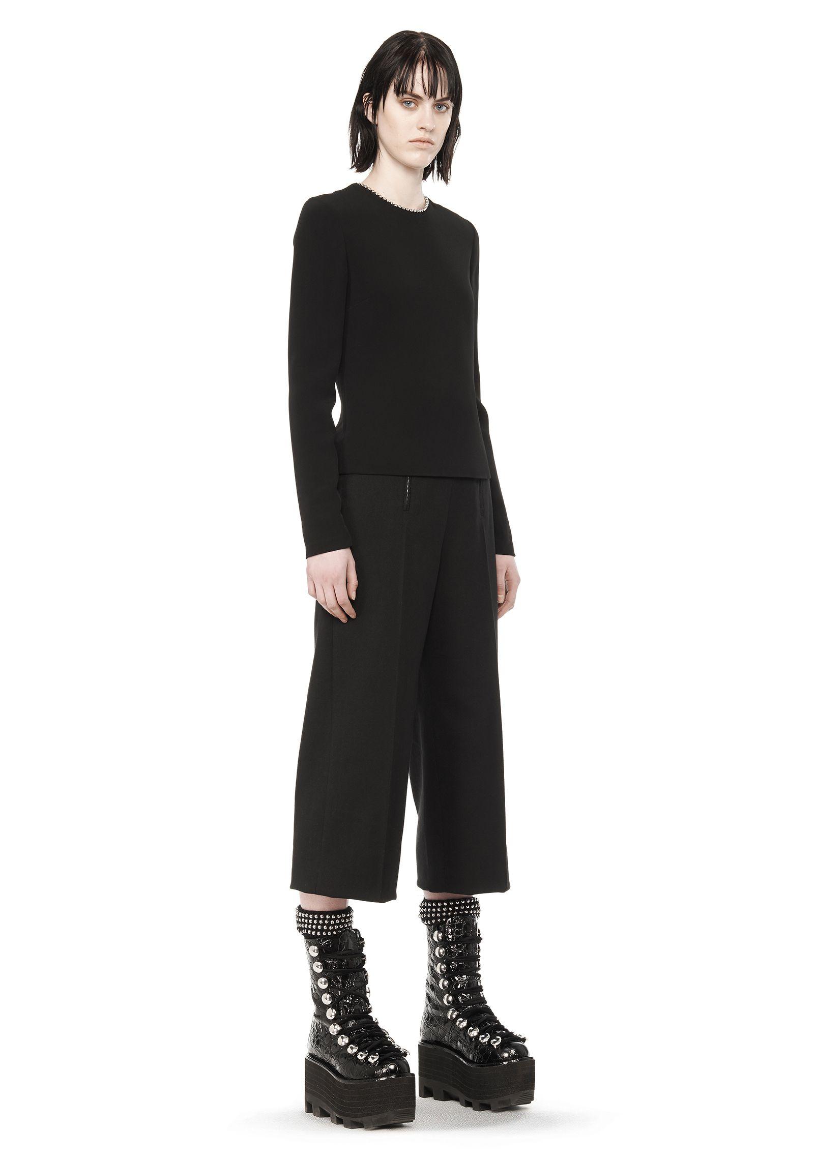 Alexander wang long sleeve ballchain top in black lyst for Adam lippes women s long sleeve vee t shirt