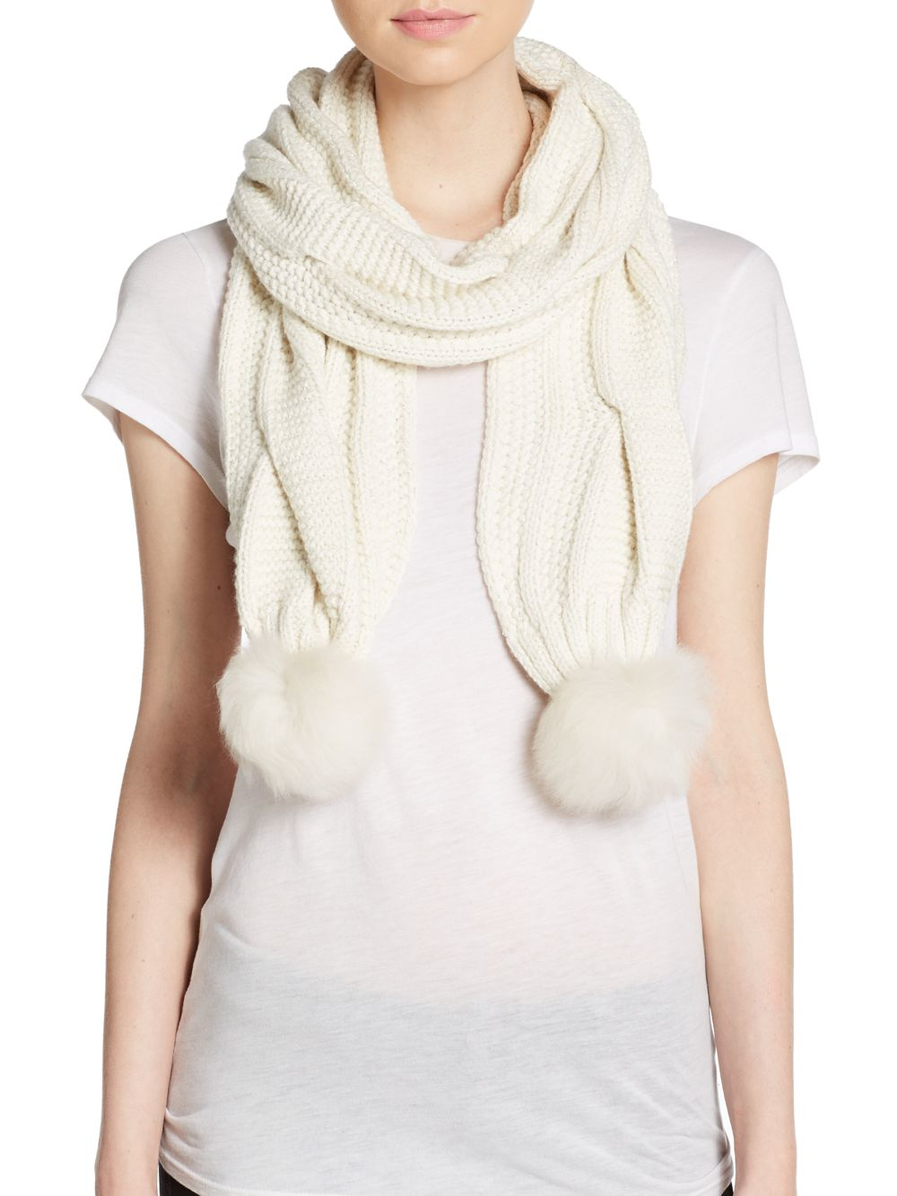 Knitting Pattern For Scarf With Pom Poms : Ugg Cable-knit Pom-pom Scarf in Natural Lyst