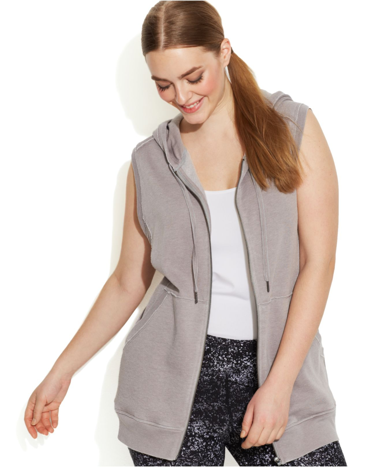 7557a169e07da Lyst - Calvin Klein Performance Plus Size Hooded Vest in Gray