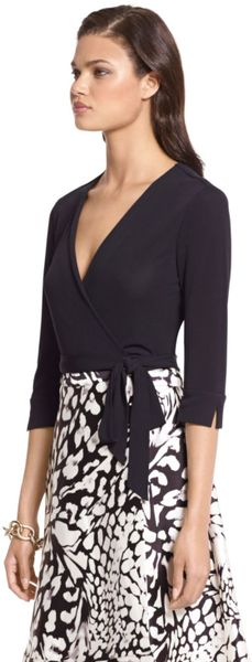 Dvf Amelia Silk Combo Flared Wrap Dress Dvf Amelia Silk Combo