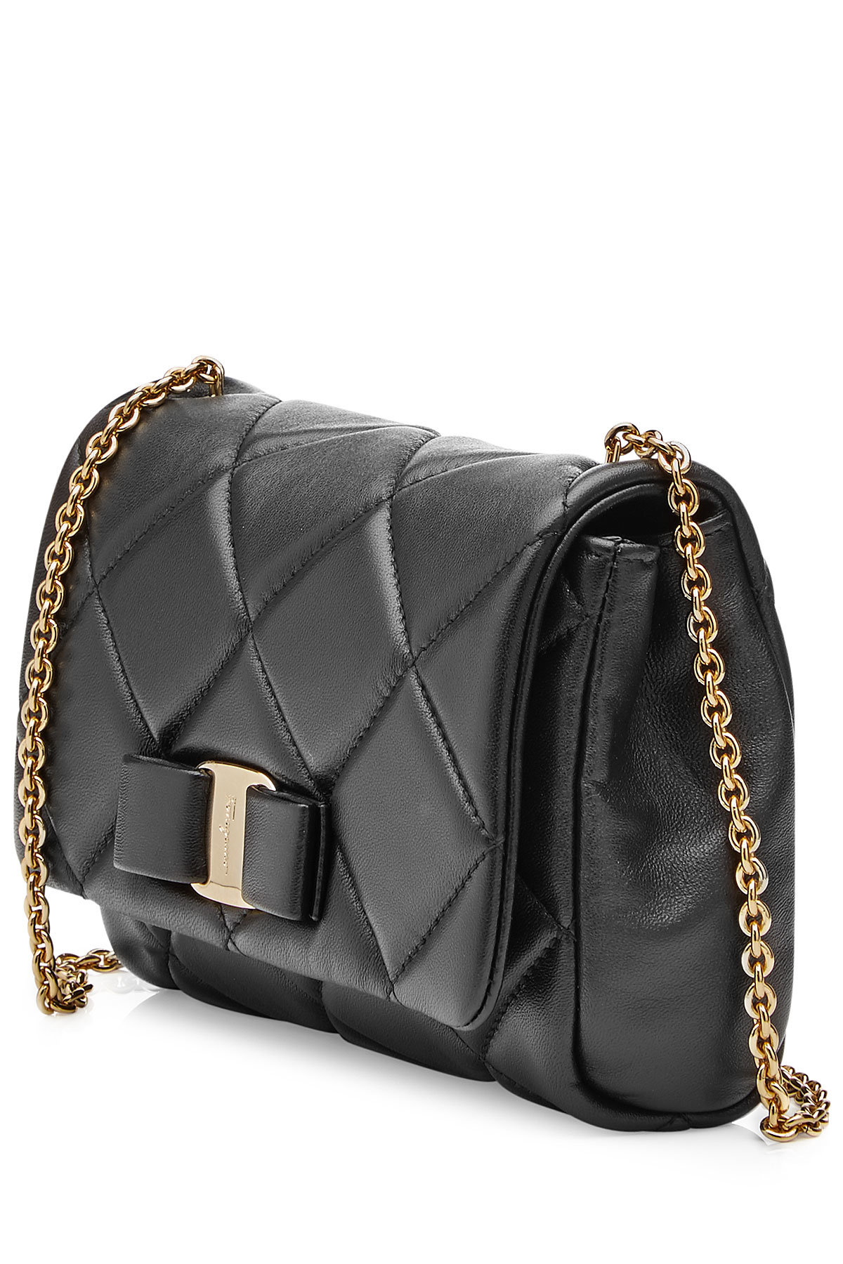 Ferragamo Small Gelly Quilted Leather Shoulder Bag Black