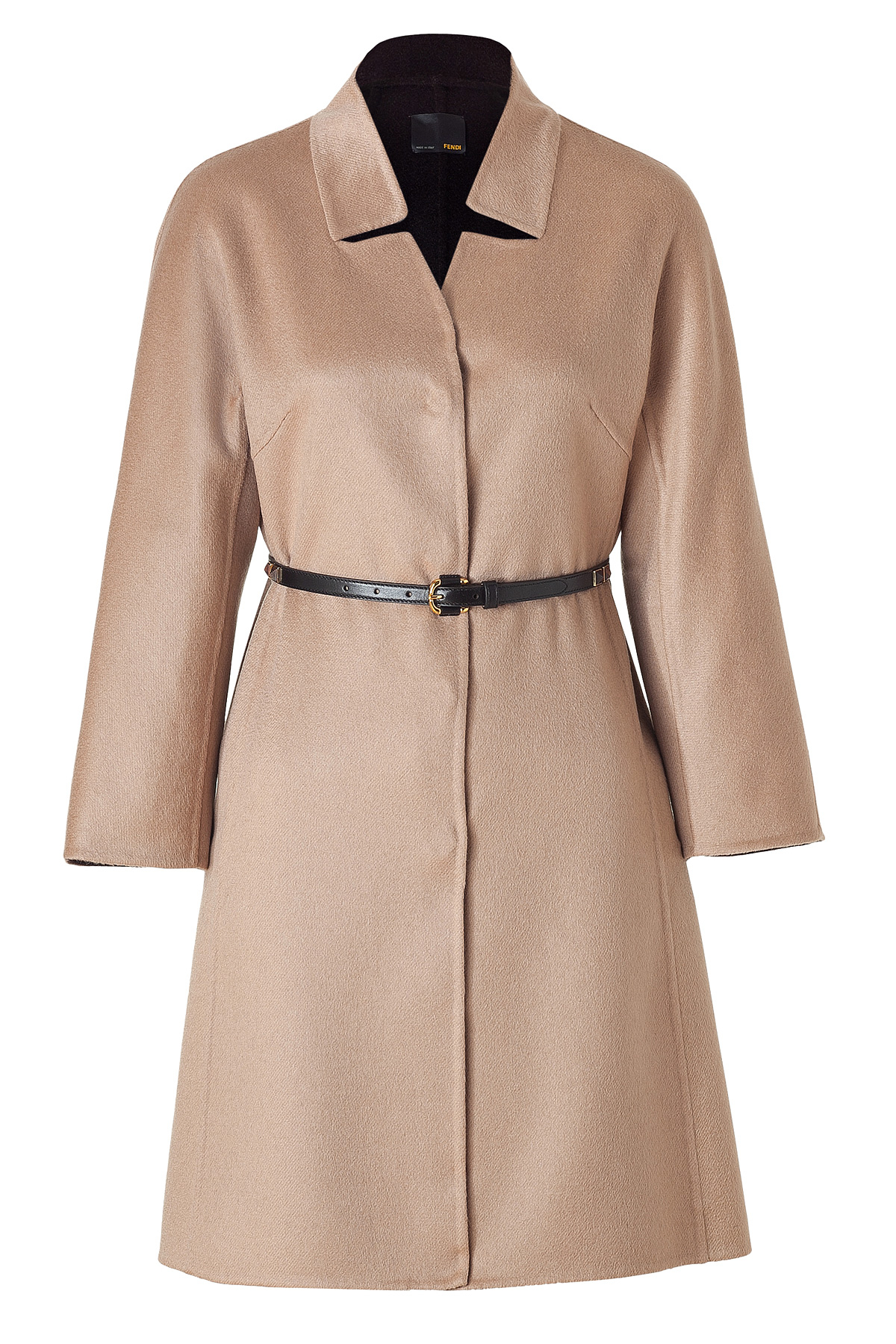 Fendi Camel Cashmere Coat With Studded Leather Belt in ...