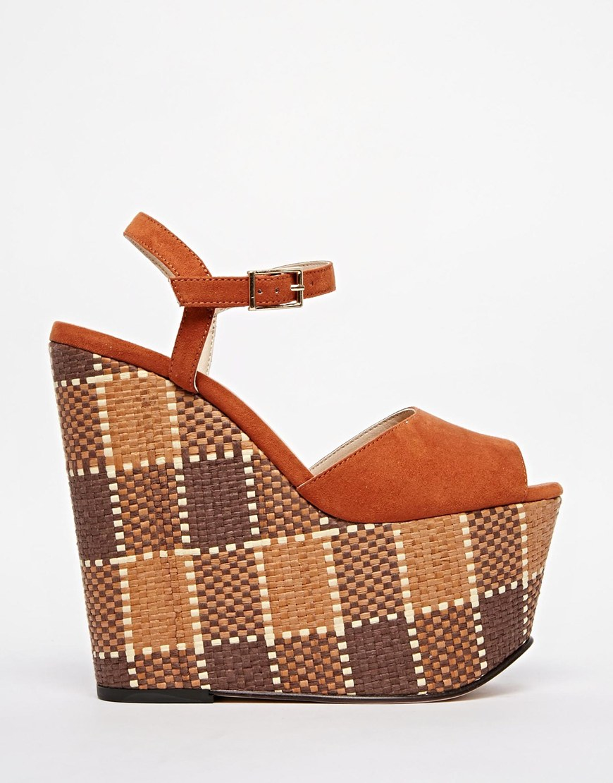 2ae80a317ec7 Lyst - ASOS High Time 70s Wedges in Brown