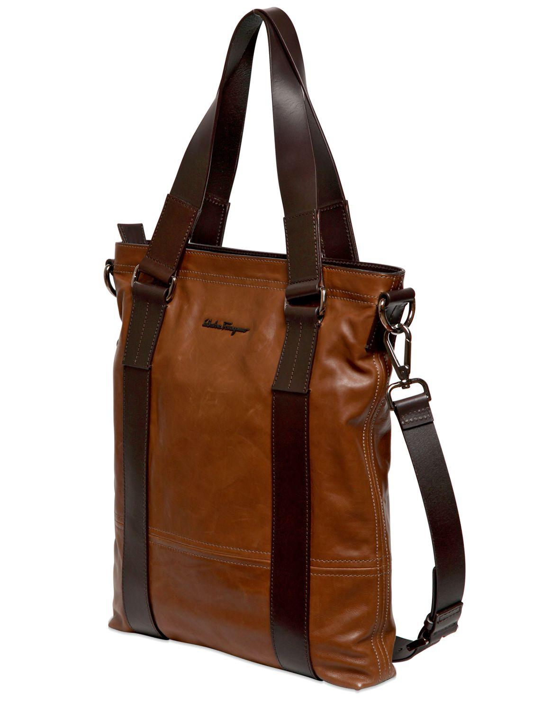 lyst ferragamo washed calf leather tote bag in brown for men. Black Bedroom Furniture Sets. Home Design Ideas